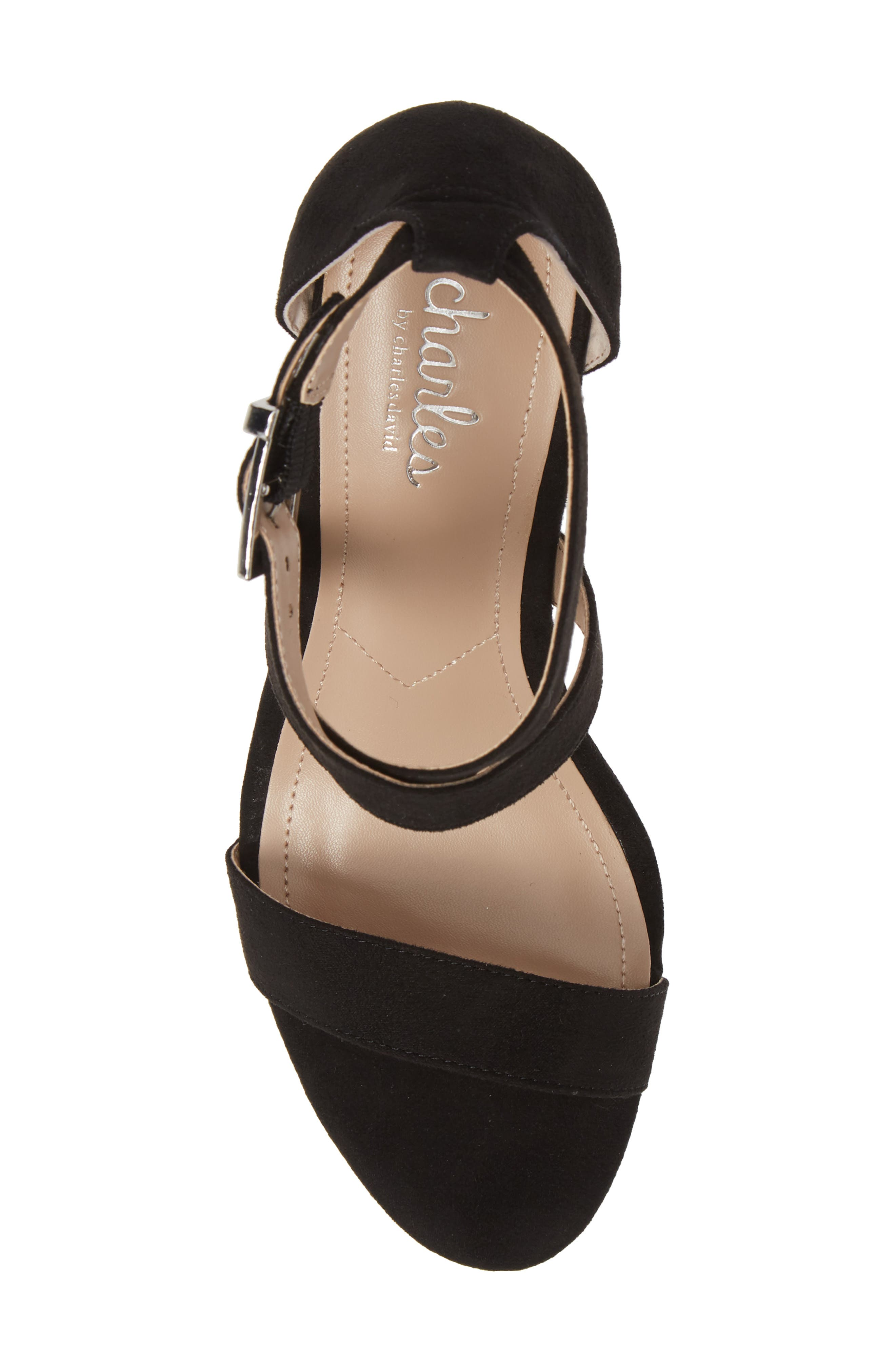 CHARLES BY CHARLES DAVID, Launch Wedge Sandal, Alternate thumbnail 5, color, BLACK FABRIC