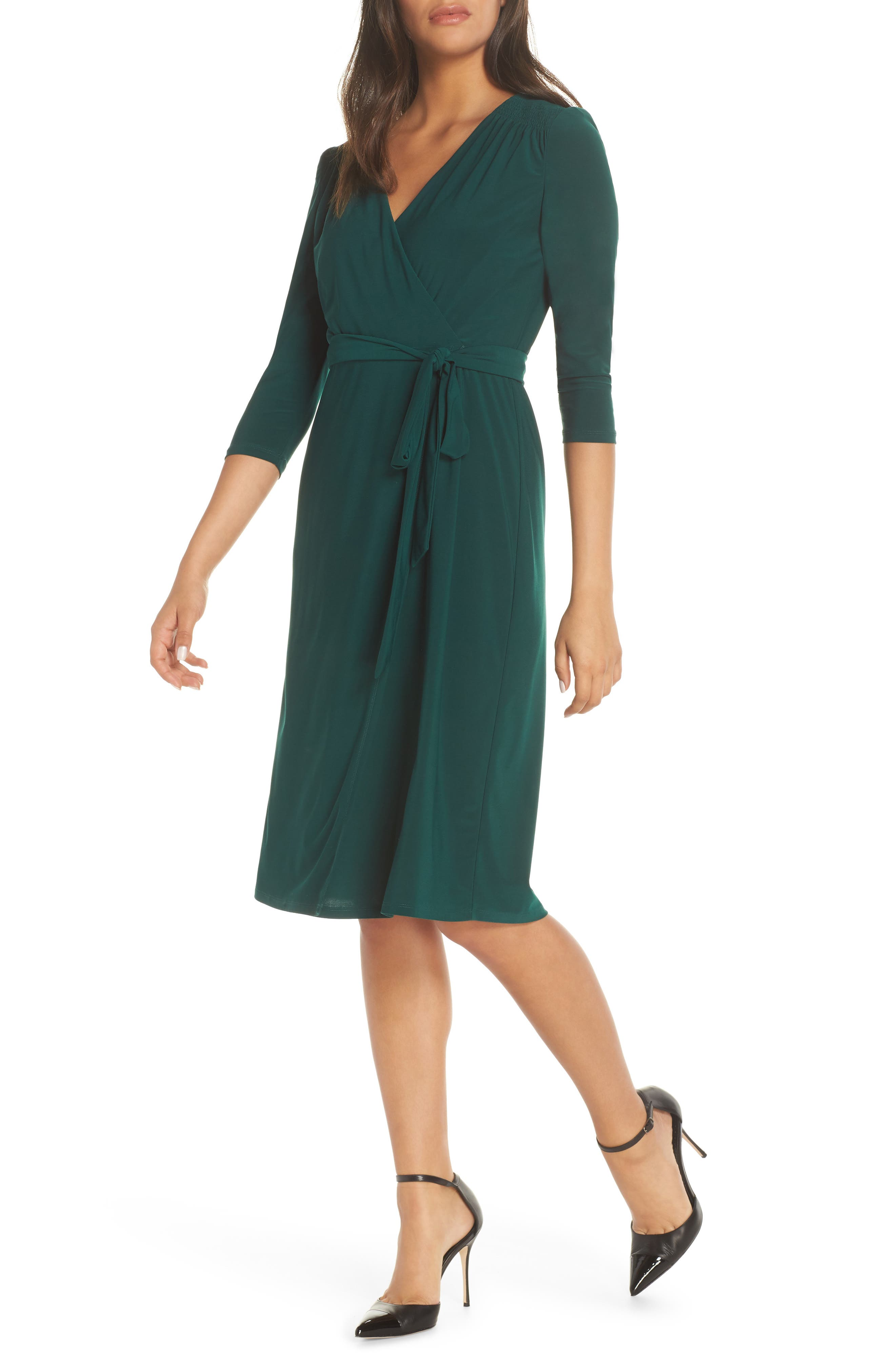 ELIZA J, Smocked Shoulder Wrap Dress, Main thumbnail 1, color, 376