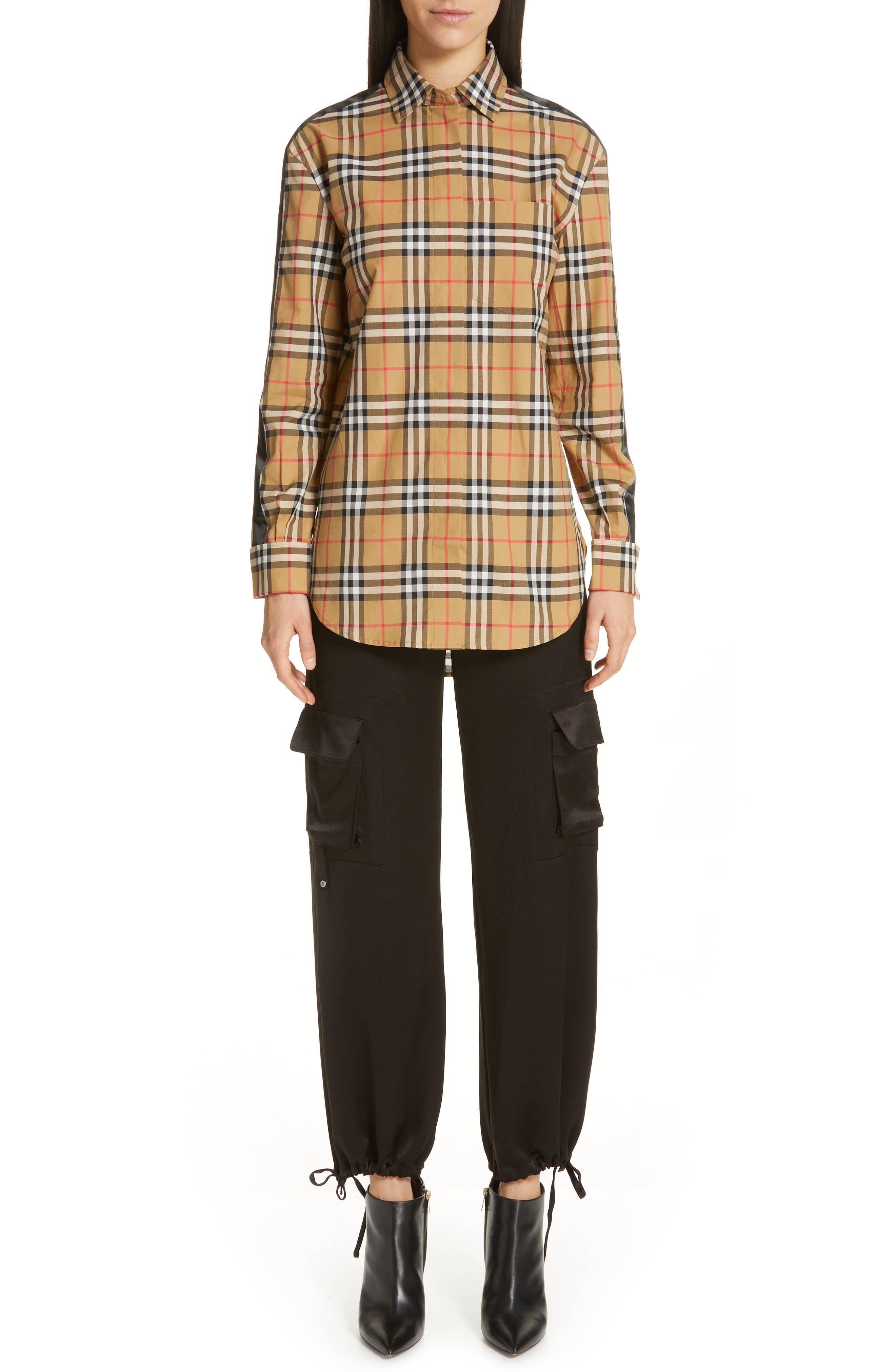 BURBERRY, Saoirse Vintage Check Cotton Shirt, Alternate thumbnail 8, color, ANTIQUE YELLOW CHECK