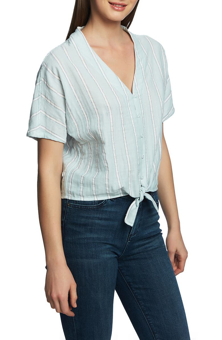 1.state T-shirts SUNWASHED STRIPE TIE FRONT COTTON SHIRT