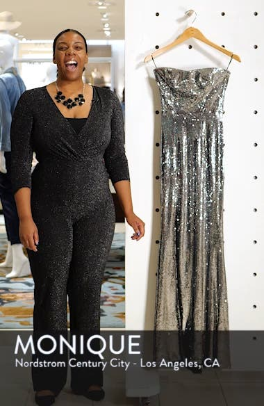 Ellen Strapless Sequin Evening Dress, sales video thumbnail