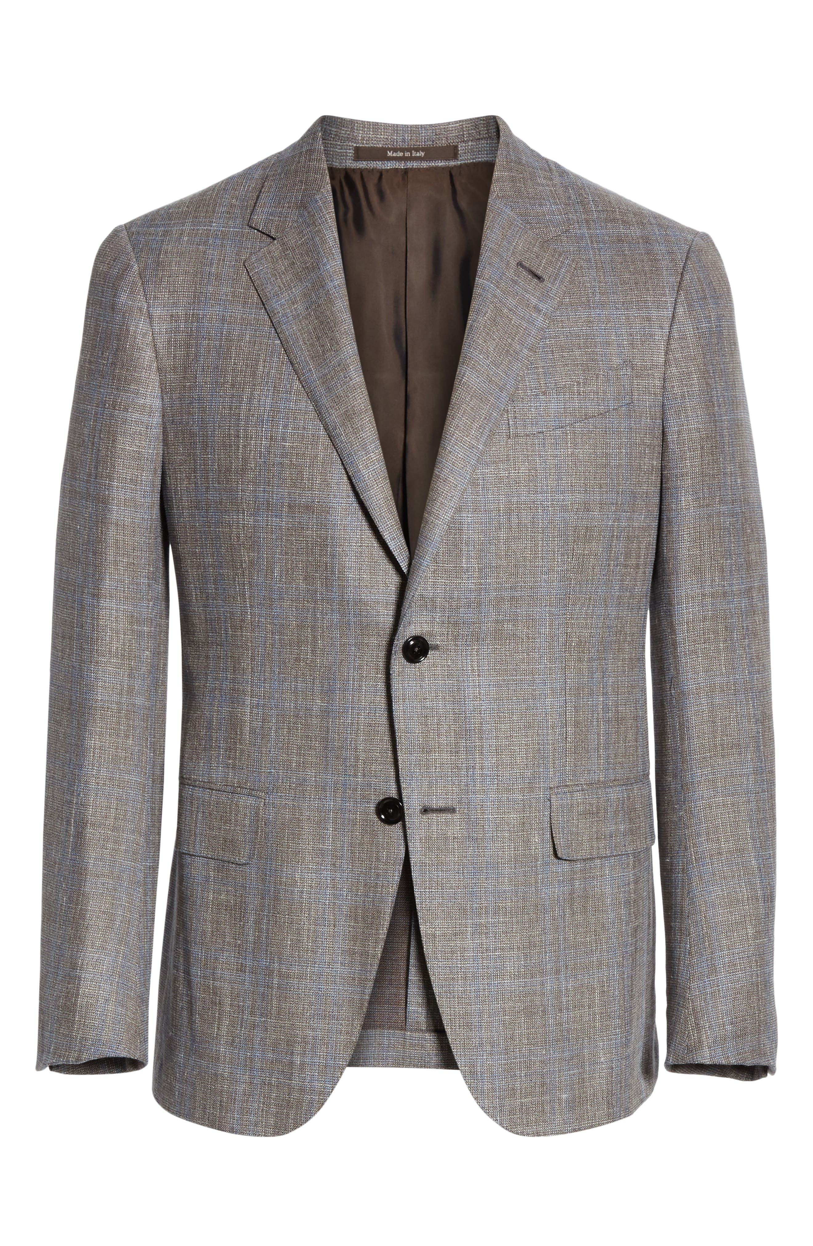 ERMENEGILDO ZEGNA, Milano Classic Fit Plaid Wool Blend Sport Coat, Alternate thumbnail 5, color, GREY