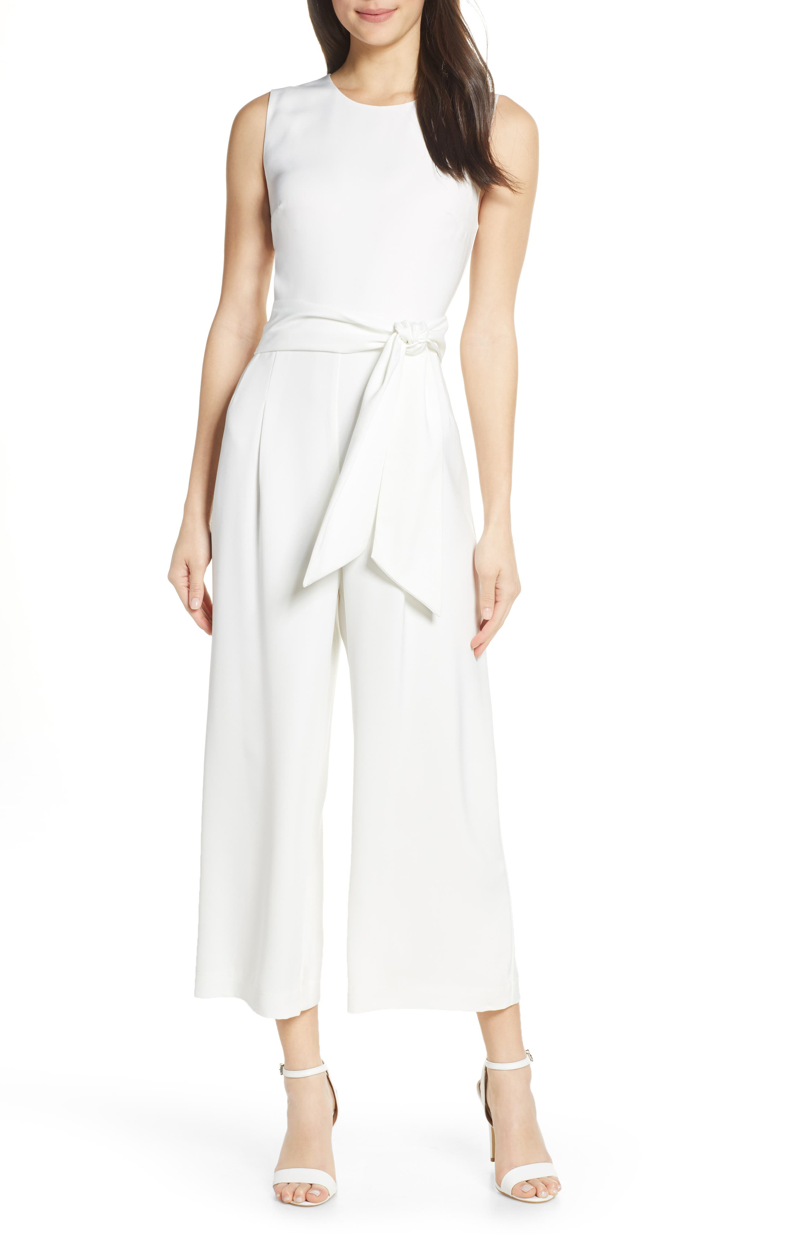CHARLES HENRY, Sleeveless Culotte Jumpsuit, Main thumbnail 1, color, IVORY