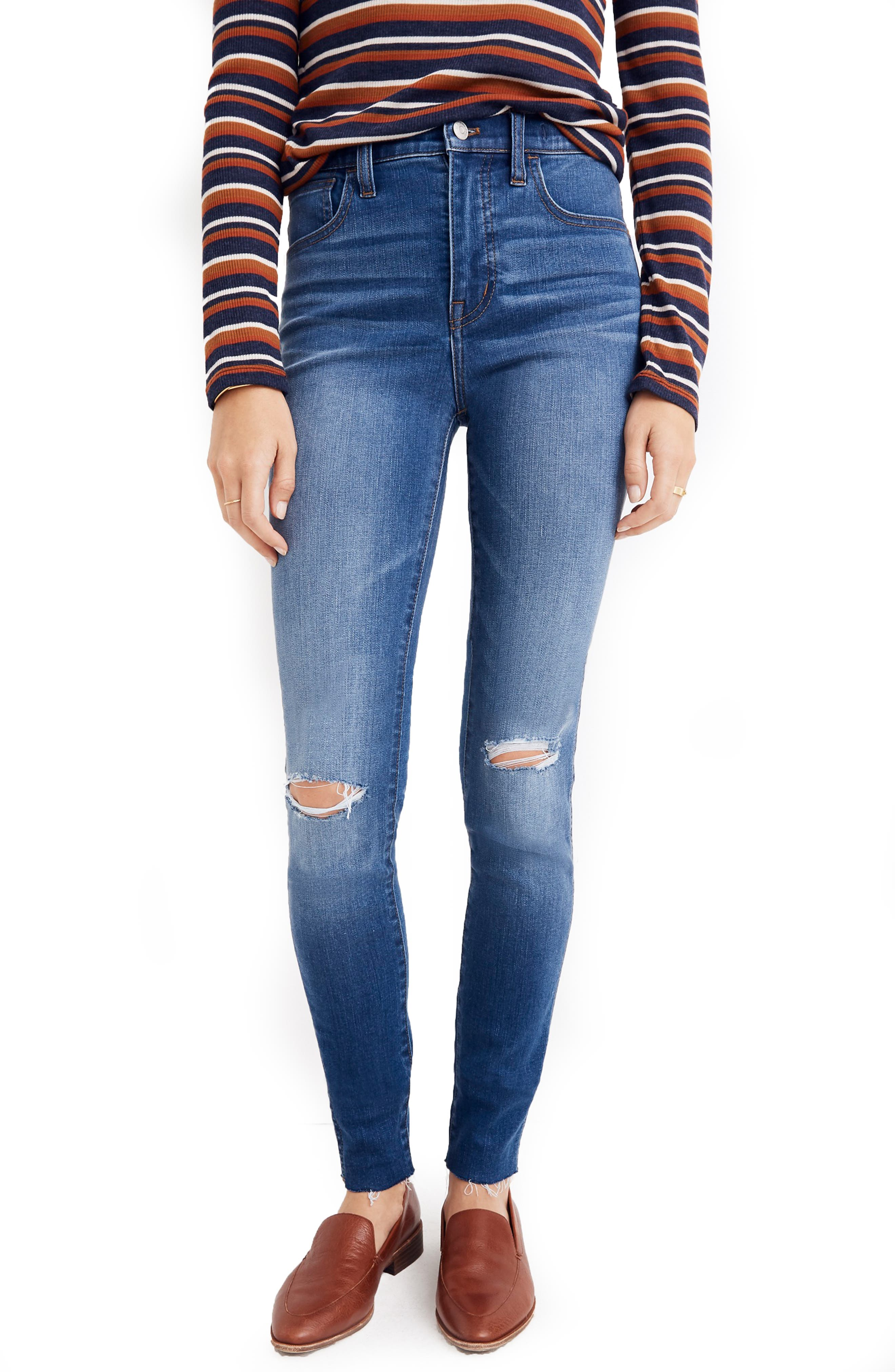 MADEWELL Roadtripper Ripped High Waist Ankle Skinny Jeans, Main, color, THE ROAD TRIPPER W/ SLIT KNEES