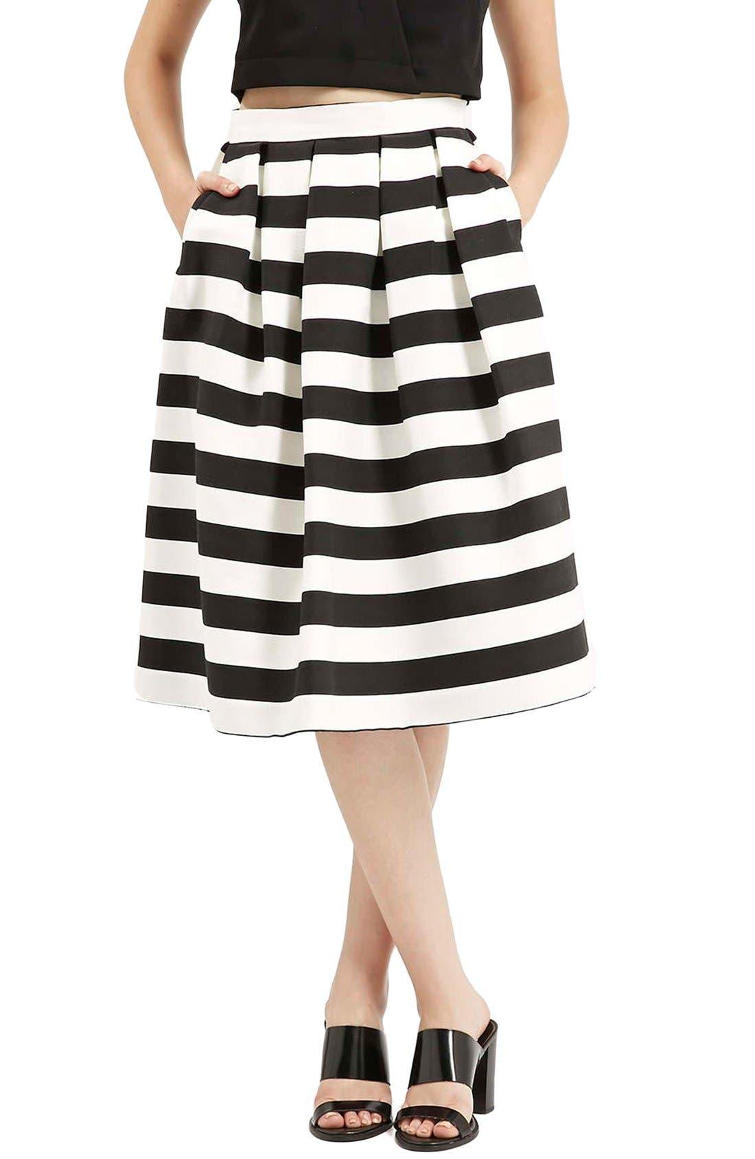 TOPSHOP, Stripe Midi Skirt, Main thumbnail 1, color, 001