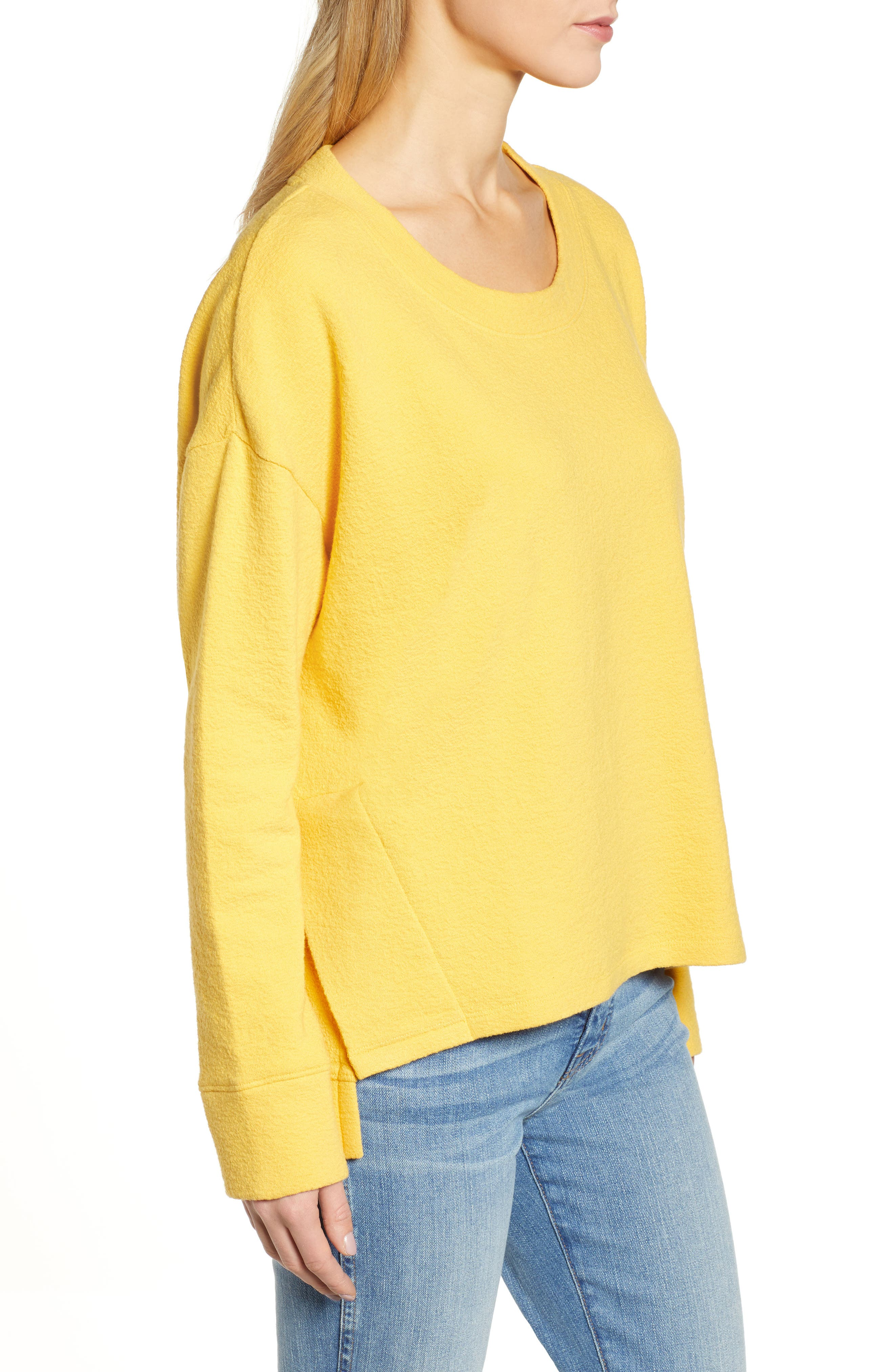 CASLON<SUP>®</SUP>, Side Slit Relaxed Sweatshirt, Alternate thumbnail 3, color, YELLOW WHIP
