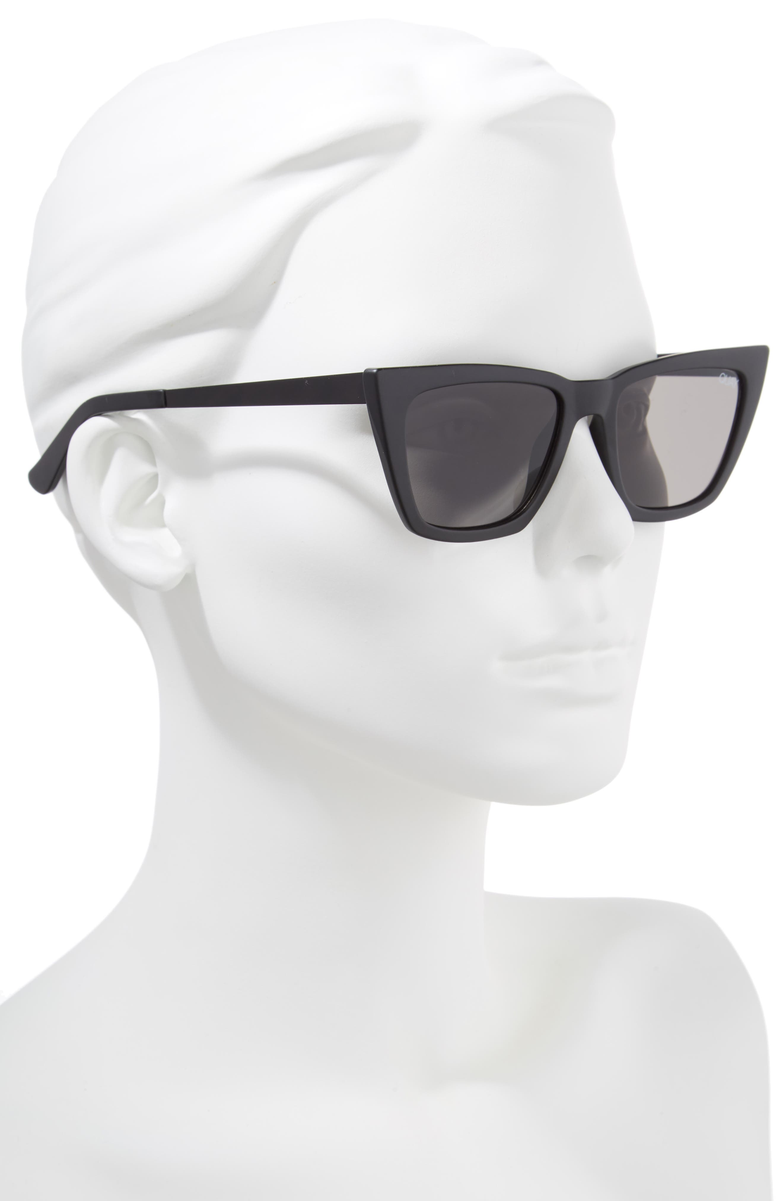 QUAY AUSTRALIA, x Desi Perkins Don't @ Me 48mm Cat Eye Sunglasses, Alternate thumbnail 2, color, BLACK/ SMOKE