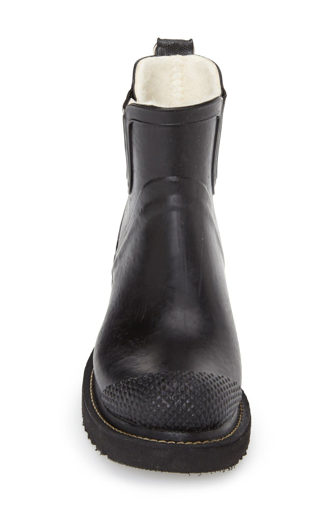 ILSE JACOBSEN,  'RUB 47' Short Waterproof Rain Boot, Alternate thumbnail 3, color, BLACK