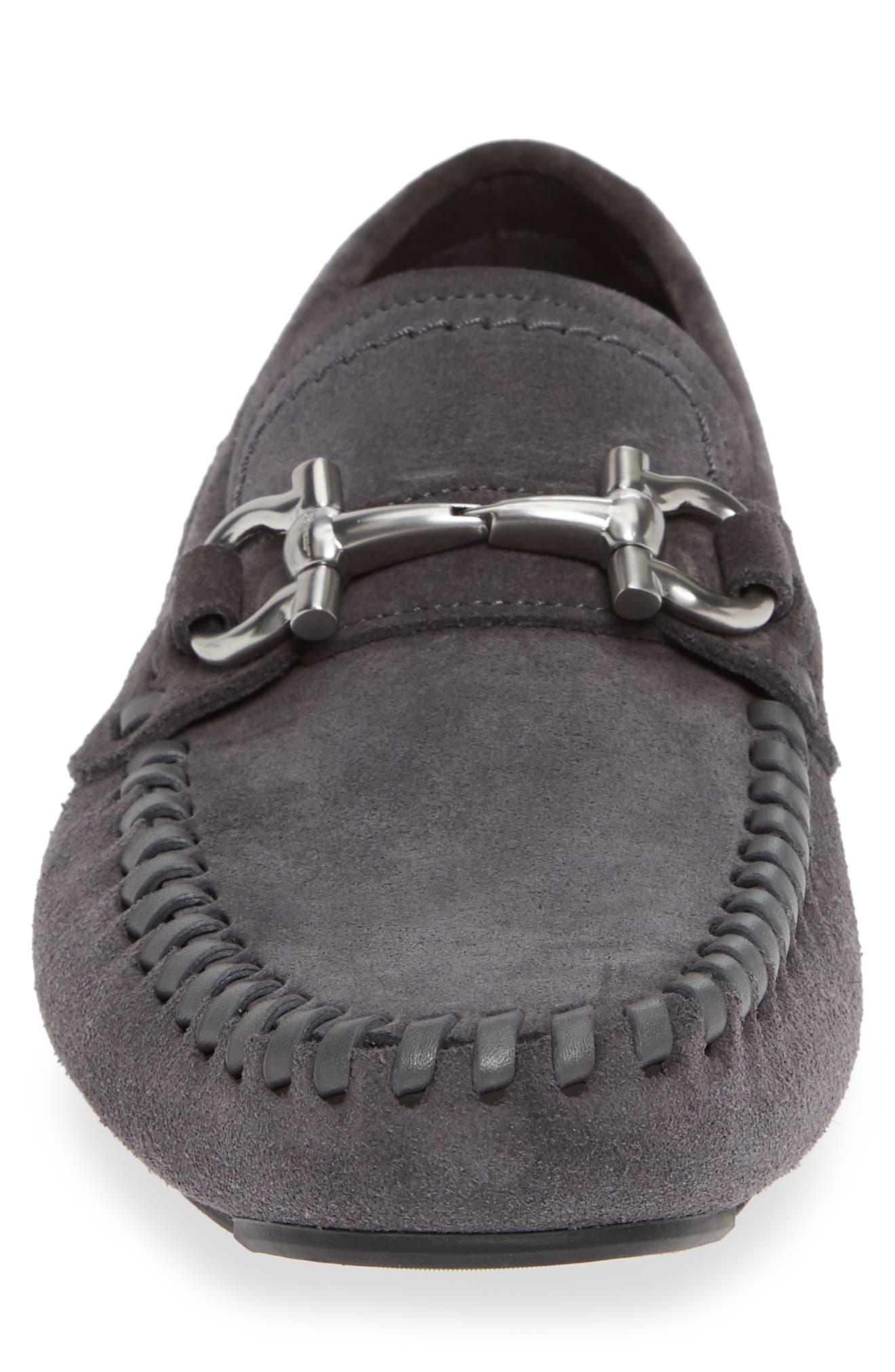SALVATORE FERRAGAMO, Parigi Bit Driving Moccasin, Alternate thumbnail 4, color, ASFALTO NERO