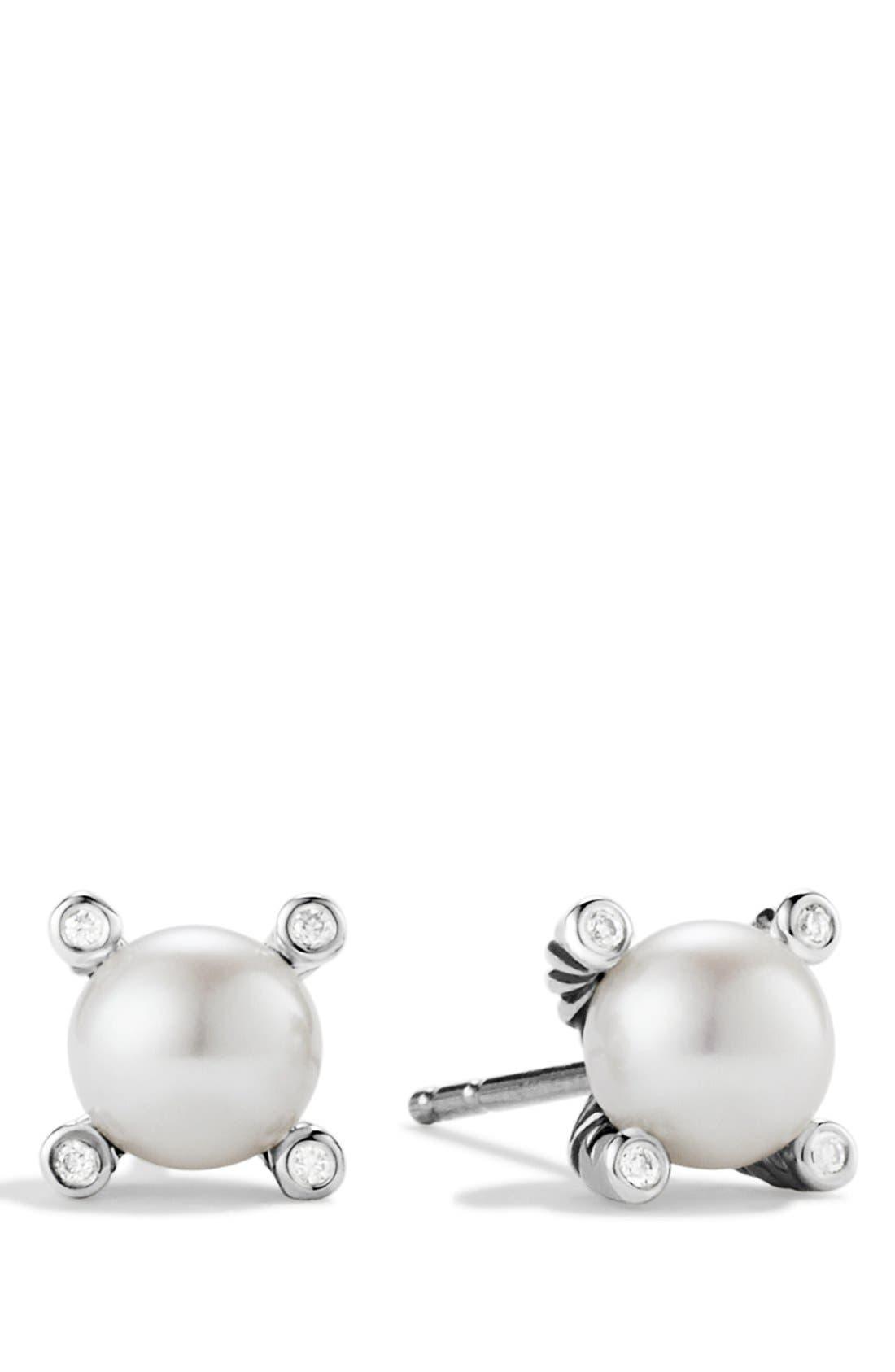 DAVID YURMAN, Small Pearl Earrings with Diamonds, Alternate thumbnail 3, color, PEARL