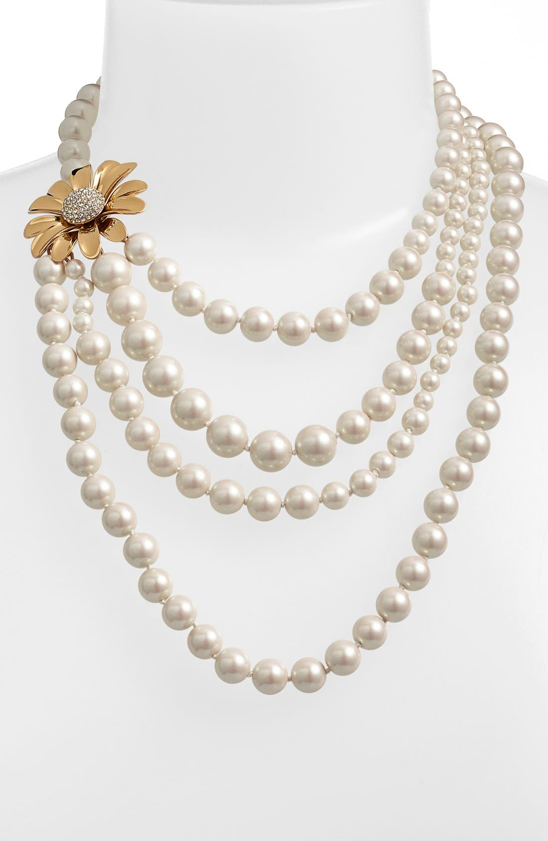 KATE SPADE NEW YORK, 'dazzling daisies' faux pearl strand necklace, Alternate thumbnail 2, color, 900