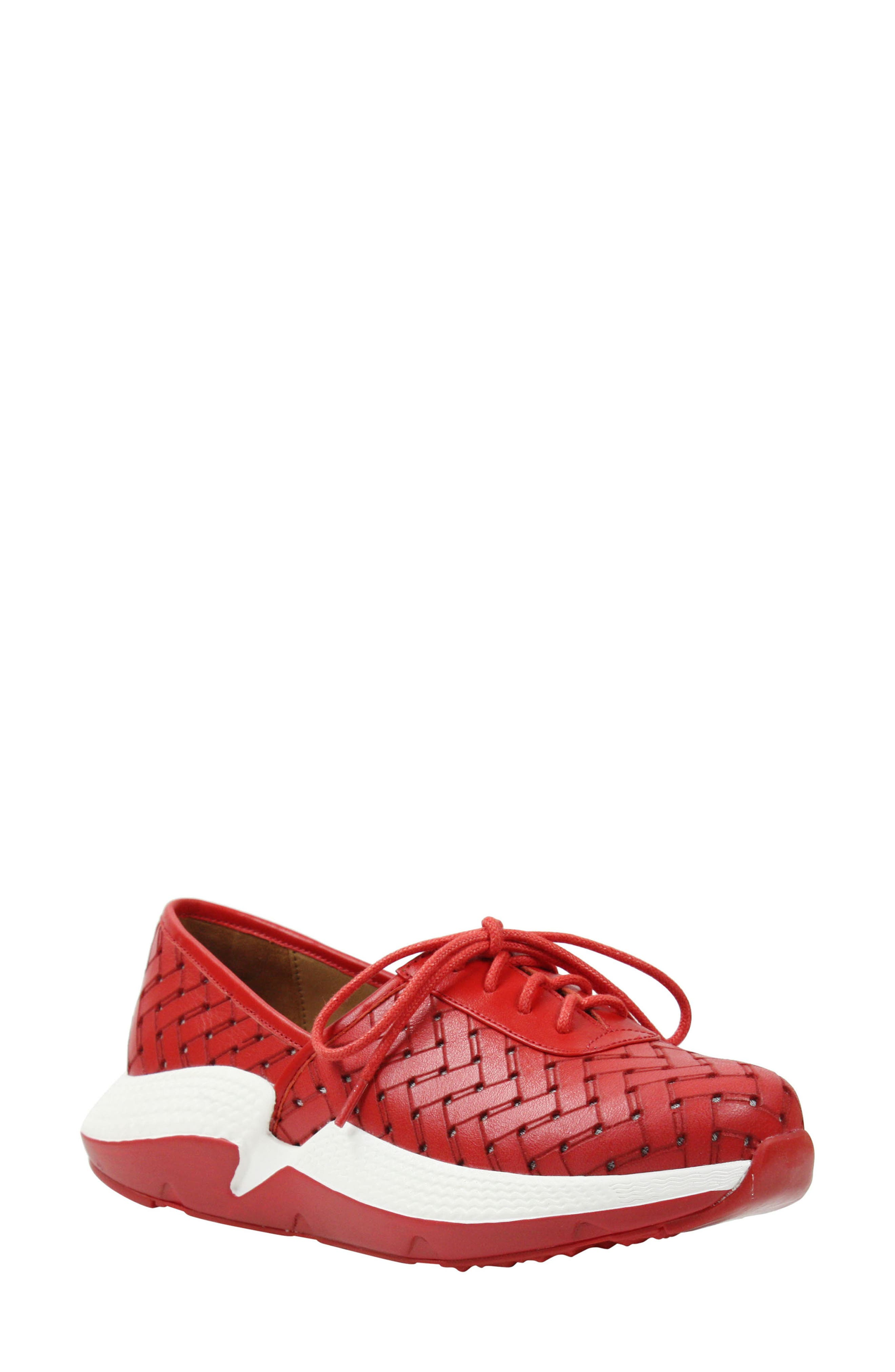 L'AMOUR DES PIEDS, Helodie Sneaker, Main thumbnail 1, color, RED LEATHER