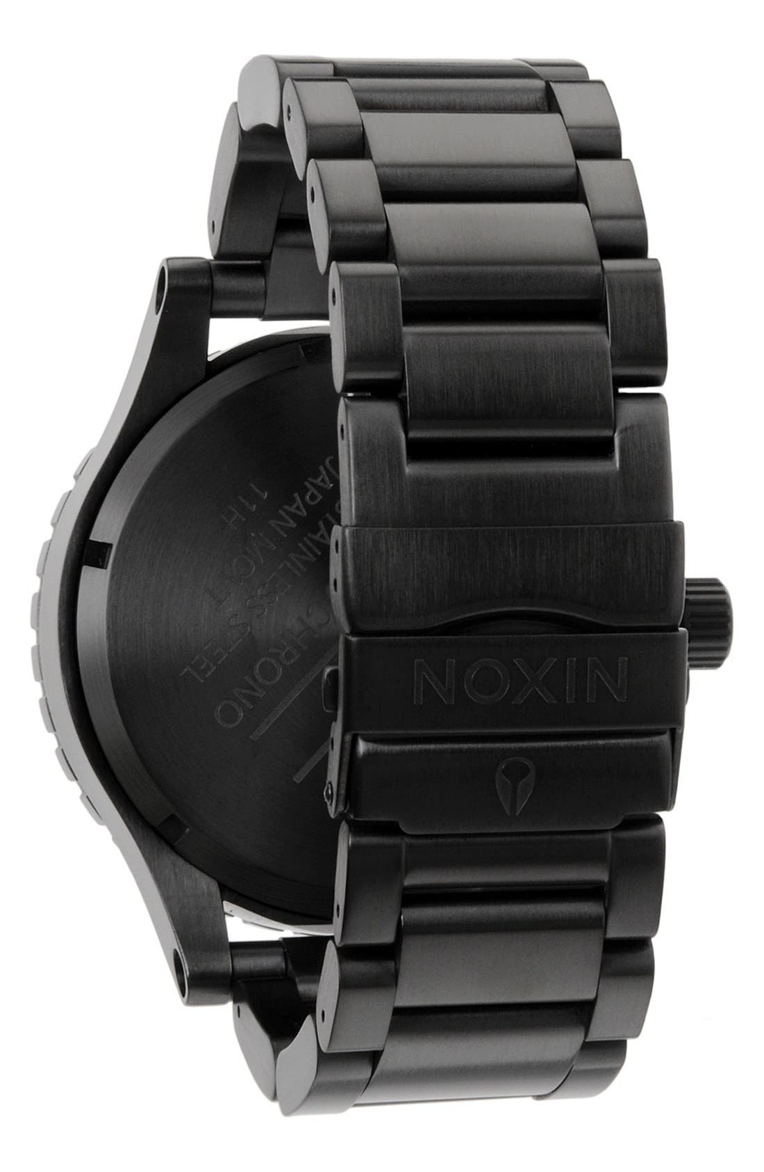NIXON, 'The 51-30 Chrono' Watch, 51mm, Alternate thumbnail 5, color, MATTE BLACK/ GOLD