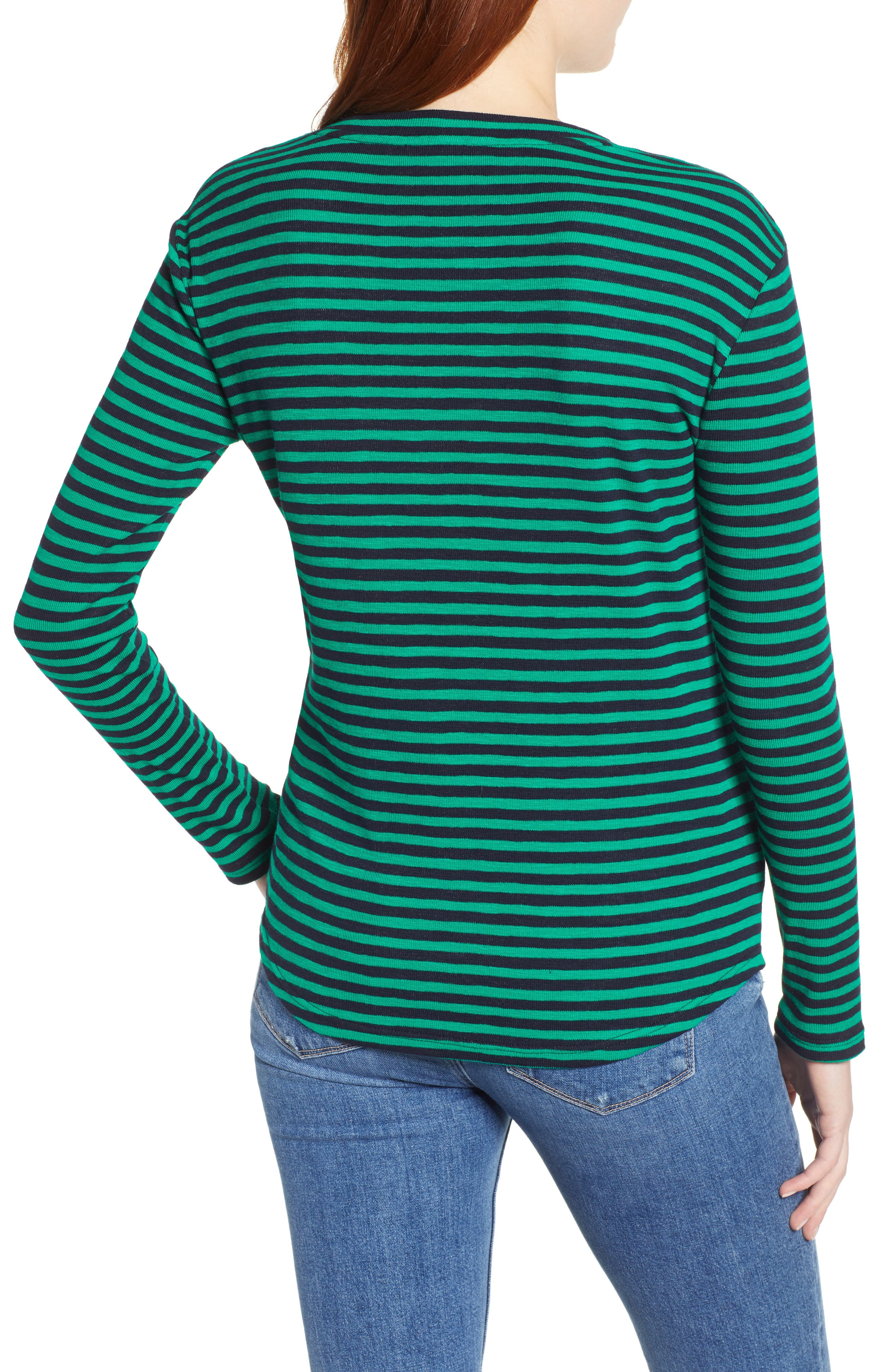 &.LAYERED, Twist Front Stripe Stretch Cotton Tee, Alternate thumbnail 2, color, NAVY/ GREEN