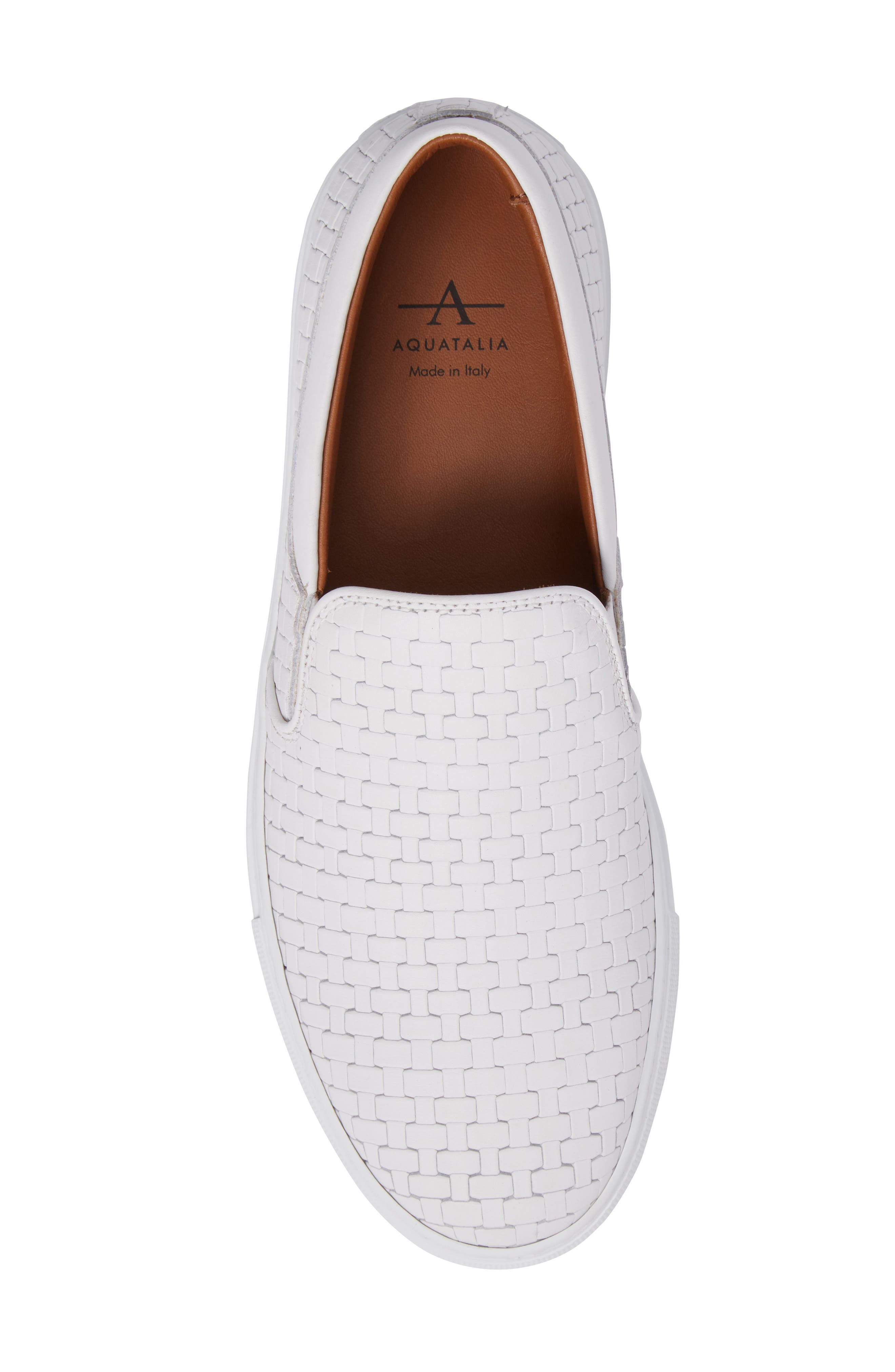 AQUATALIA, Ashlynn Embossed Slip-On Sneaker, Alternate thumbnail 5, color, WHITE