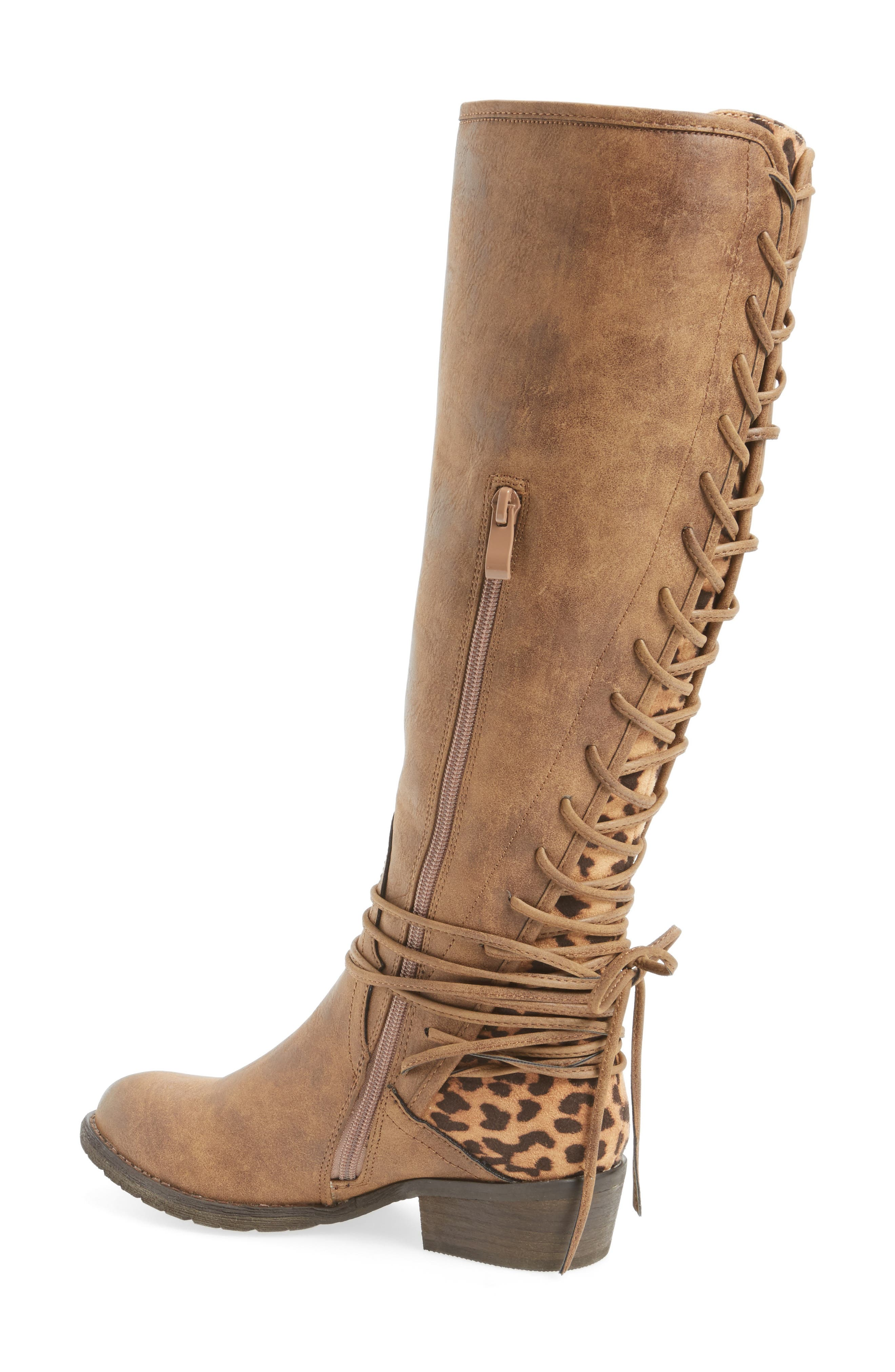 VERY VOLATILE, Marcel Corseted Knee High Boot, Alternate thumbnail 2, color, TAN FAUX LEATHER