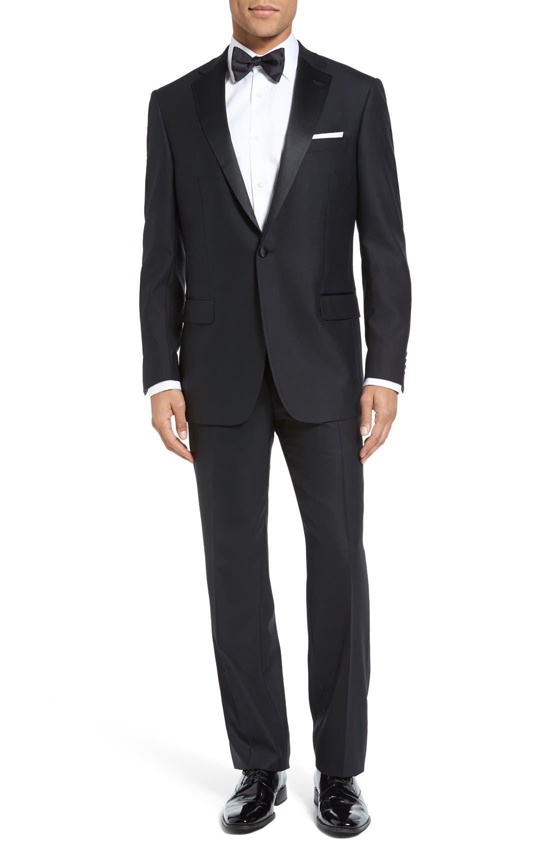 HART SCHAFFNER MARX, New York Classic Fit Black Wool Tuxedo, Main thumbnail 1, color, BLACK
