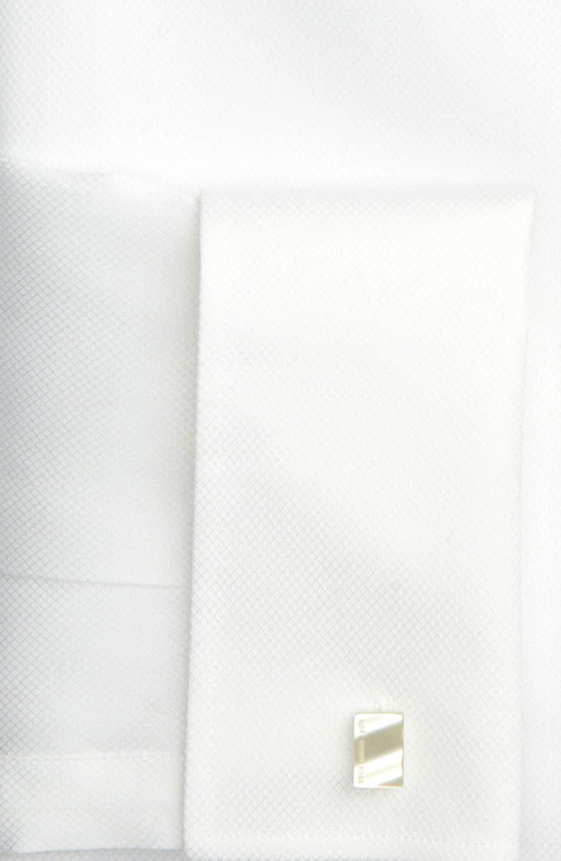 BOSS, Jameson Slim Fit Diamond Weave French Cuff Tuxedo Shirt, Alternate thumbnail 7, color, 120