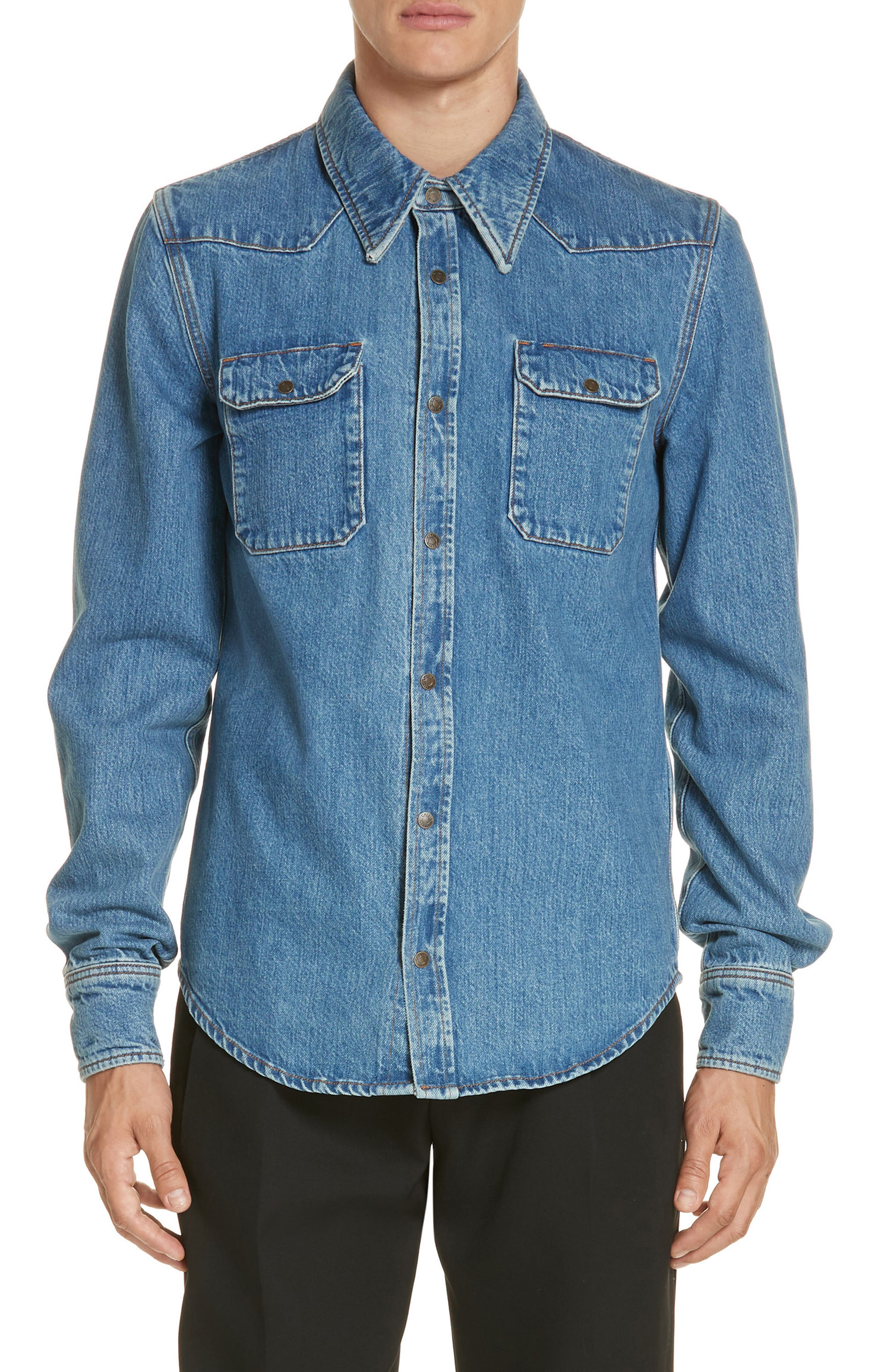 CALVIN KLEIN 205W39NYC, Denim Shirt, Main thumbnail 1, color, BLUE