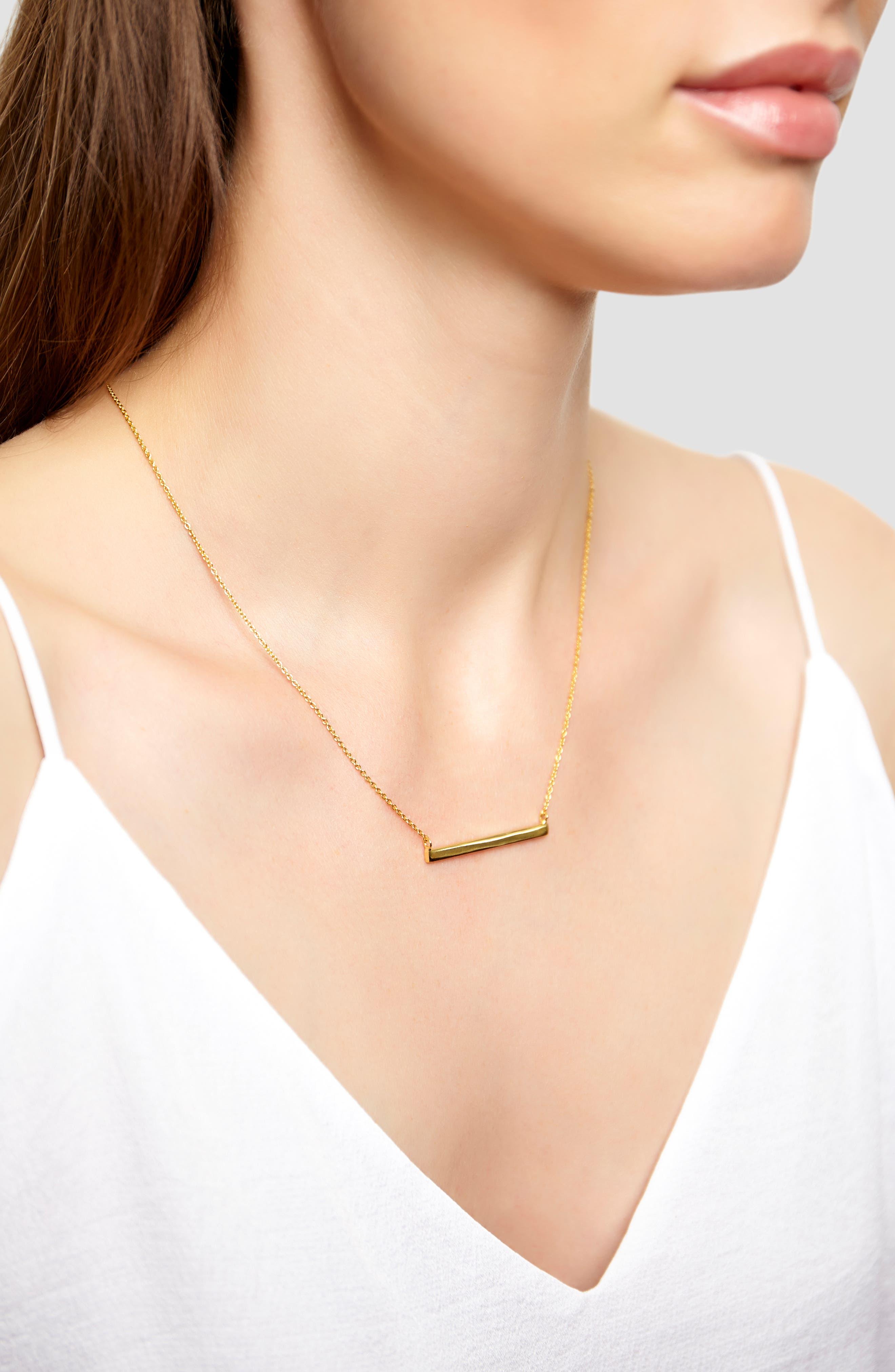 ARGENTO VIVO, Bar Pendant Necklace, Alternate thumbnail 2, color, GOLD