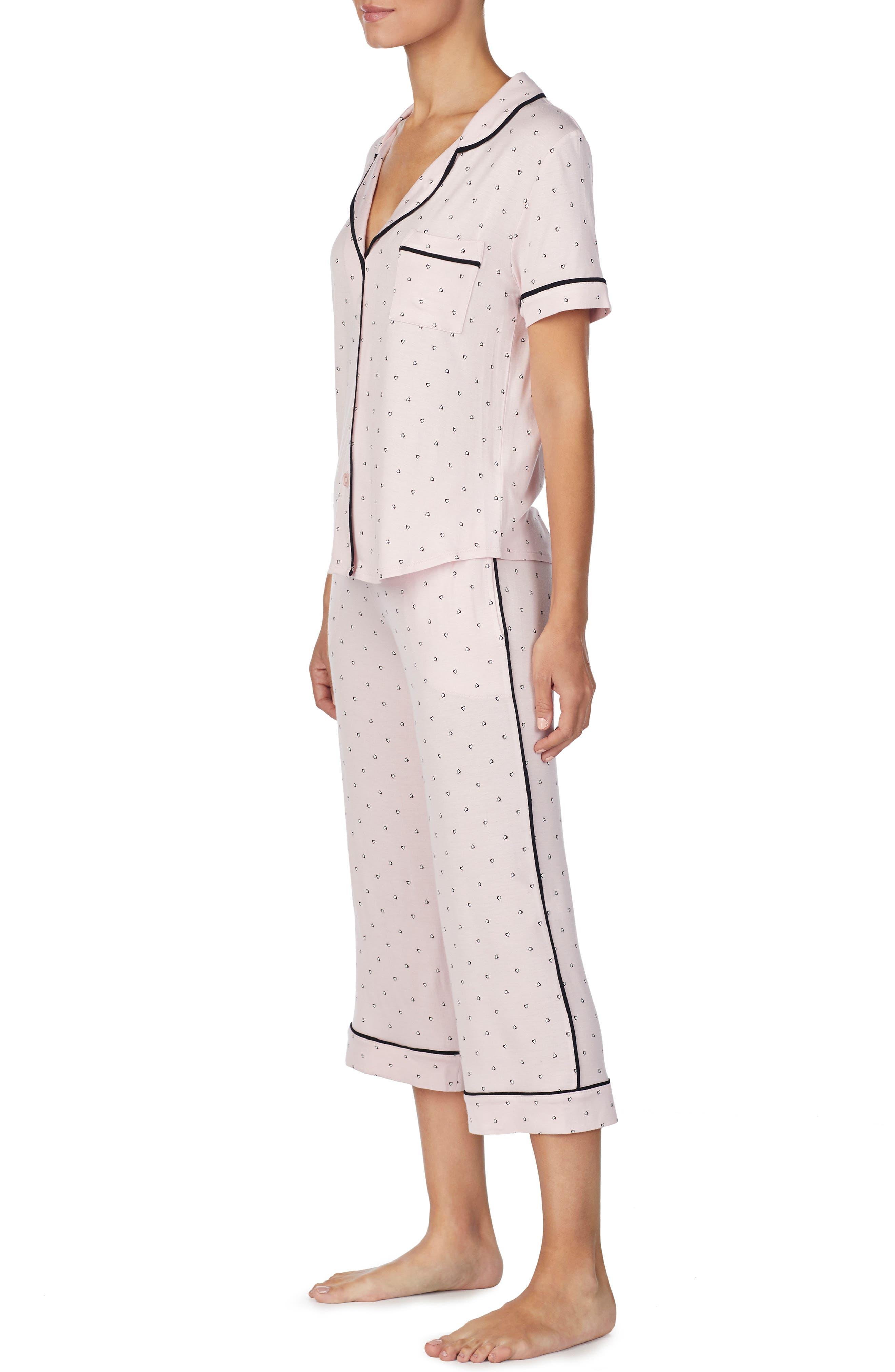 ROOM SERVICE, Crop Pajamas, Alternate thumbnail 3, color, PINK SHADED HEARTS