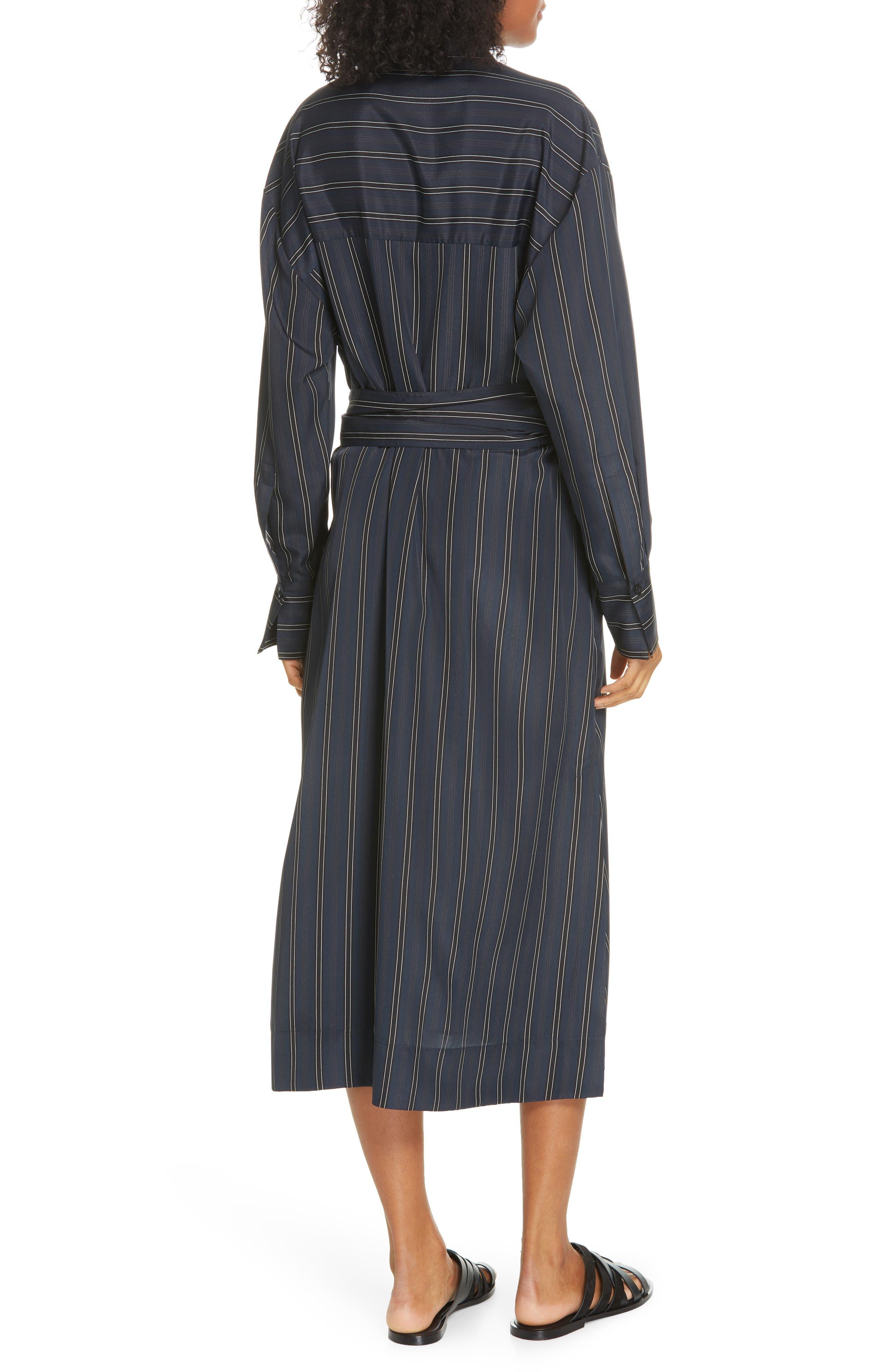 VINCE, Stripe Belted Midi Shirtdress, Alternate thumbnail 2, color, MARINE