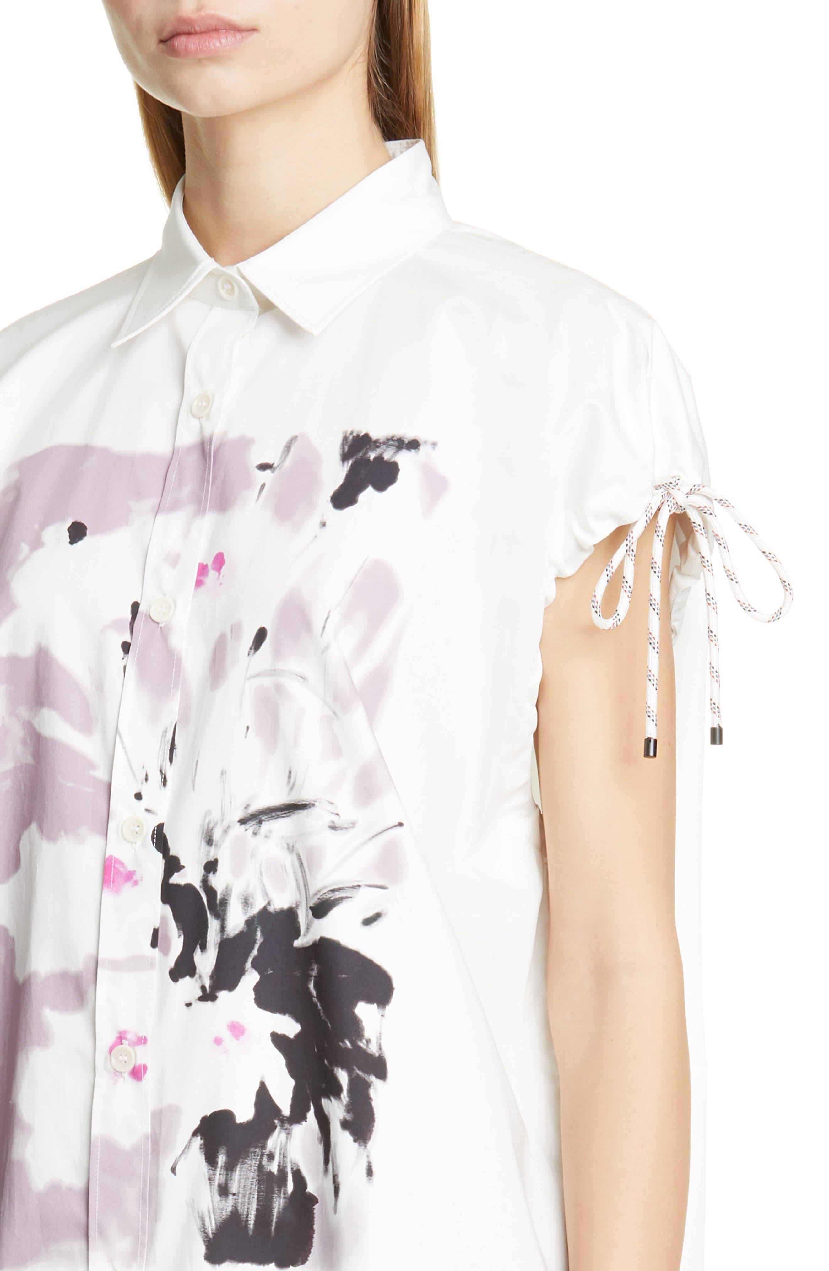 DRIES VAN NOTEN, Dantia Floral Print Cotton Shirt, Alternate thumbnail 4, color, LILAC