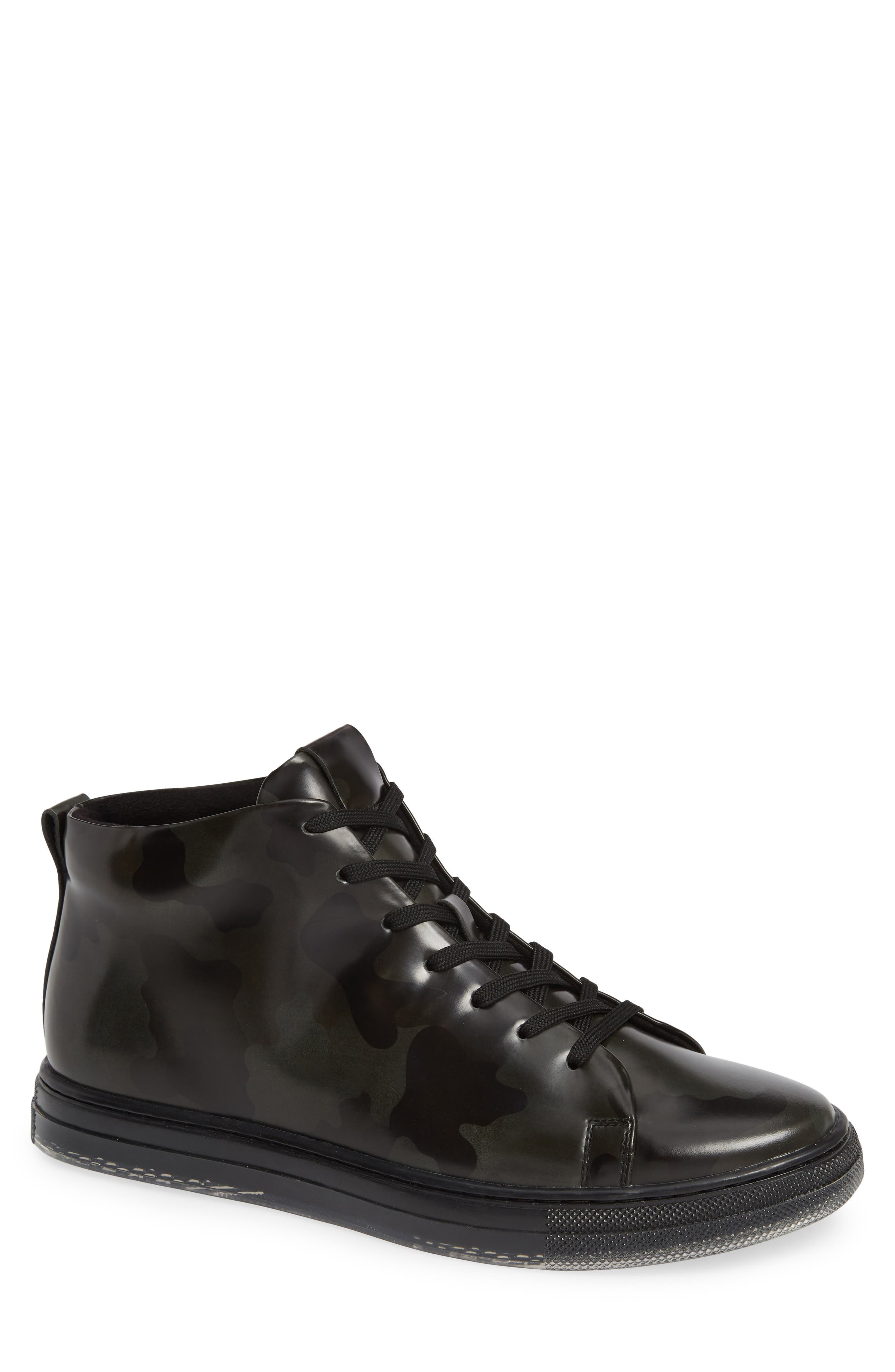KENNETH COLE NEW YORK, Kenneth Cole Colvin Camo High Top Sneaker, Main thumbnail 1, color, OLIVE CAMO LEATHER