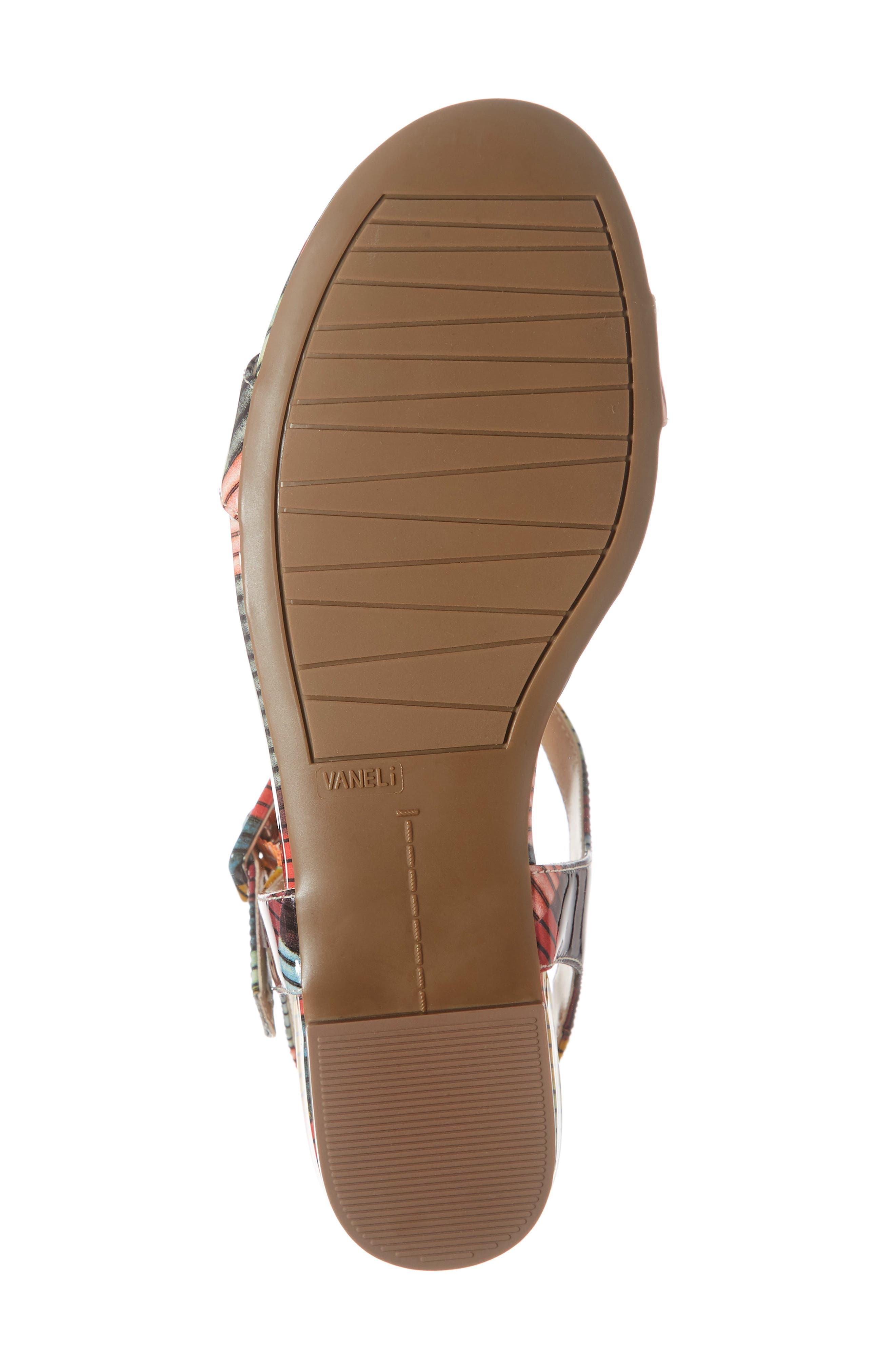 VANELI, Burlie T-Strap Sandal, Alternate thumbnail 6, color, MULTICOLOR PATENT LEATHER