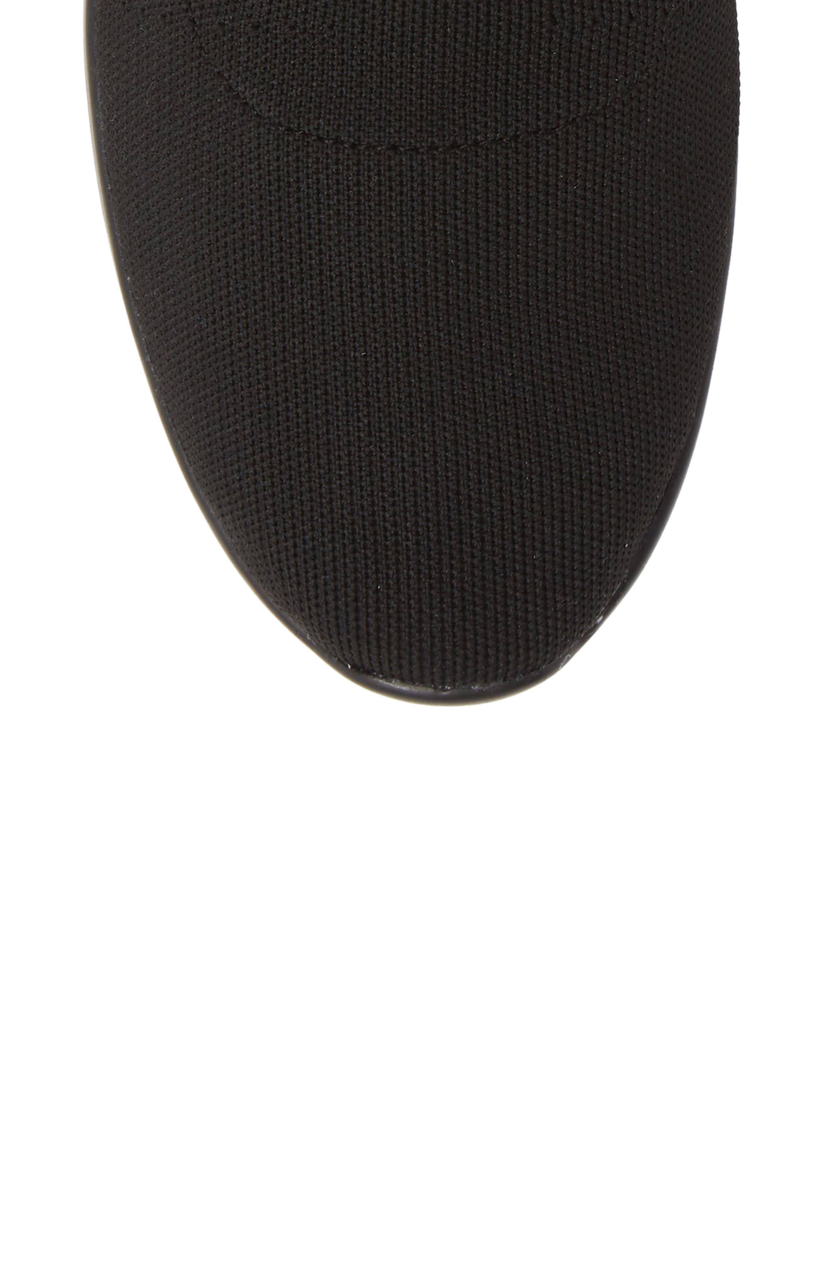 CALVIN KLEIN, Quan Stretch Knit Sneaker, Alternate thumbnail 5, color, BLACK/ WHITE FABRIC
