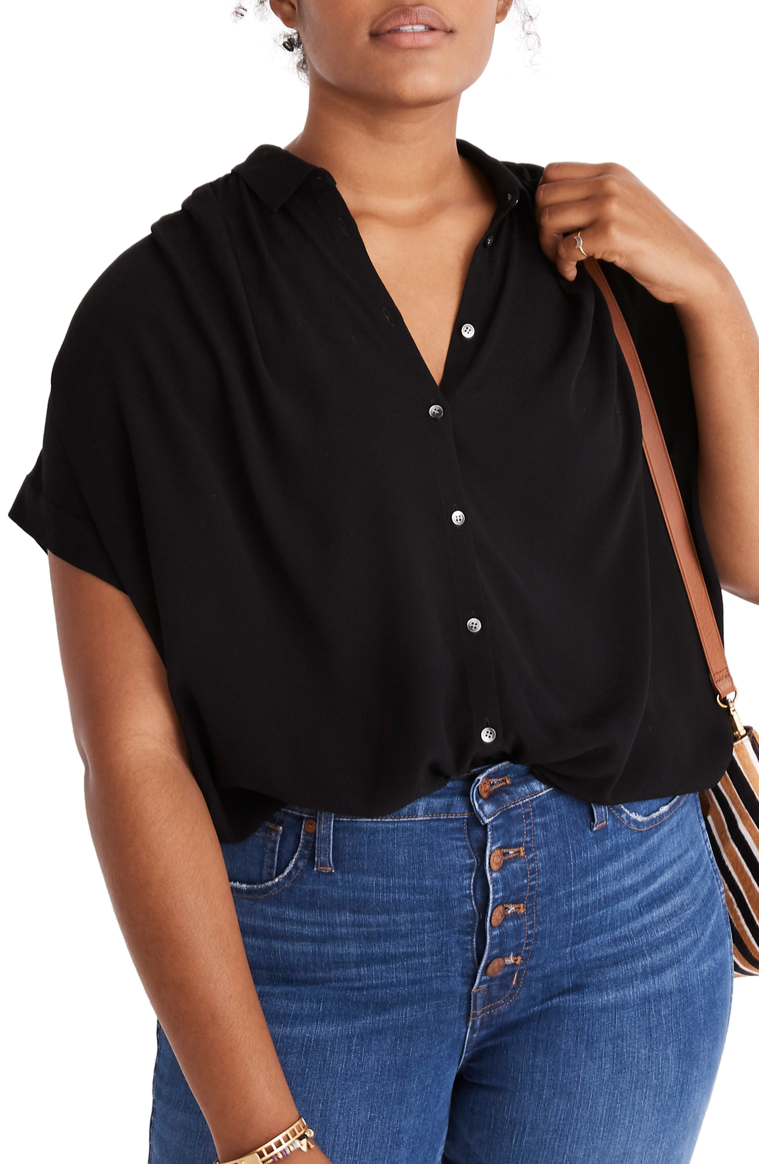MADEWELL, Central Drapey Shirt, Alternate thumbnail 2, color, TRUE BLACK