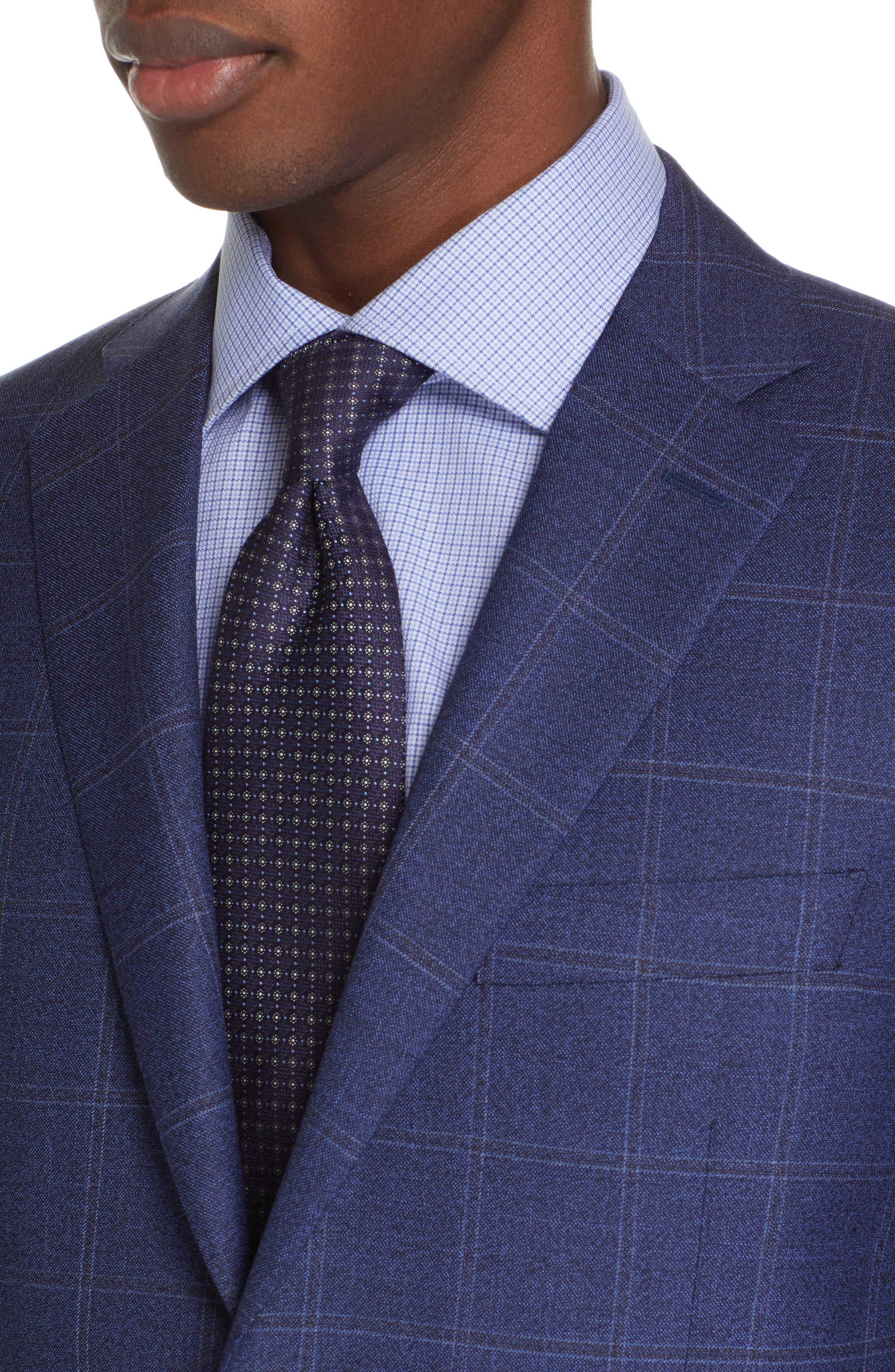 CANALI, Siena Classic Fit Plaid Wool Sport Coat, Alternate thumbnail 4, color, BLUE
