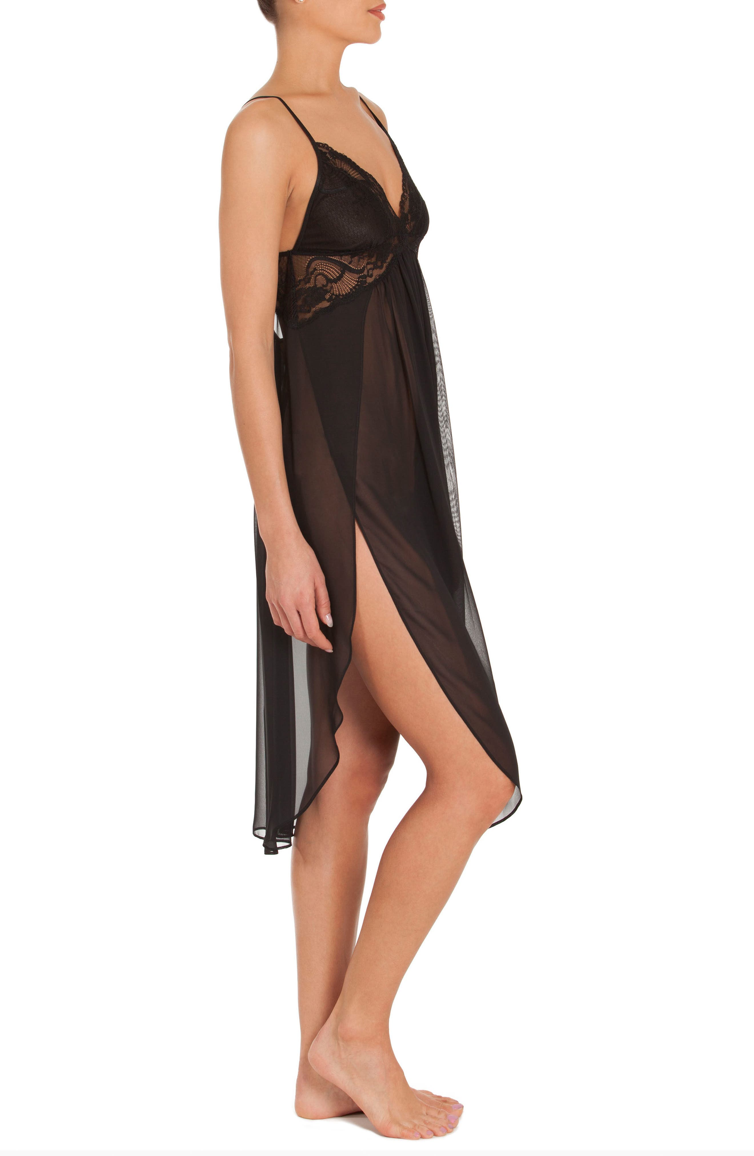 IN BLOOM BY JONQUIL, Long Chemise, Alternate thumbnail 3, color, BLACK