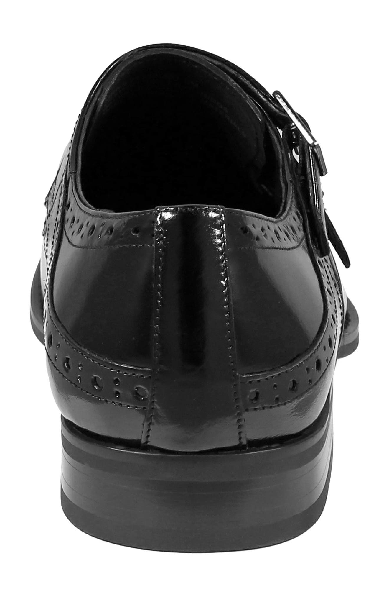 STACY ADAMS, Tayton Cap Toe Double Strap Monk Shoe, Alternate thumbnail 8, color, BLACK LEATHER