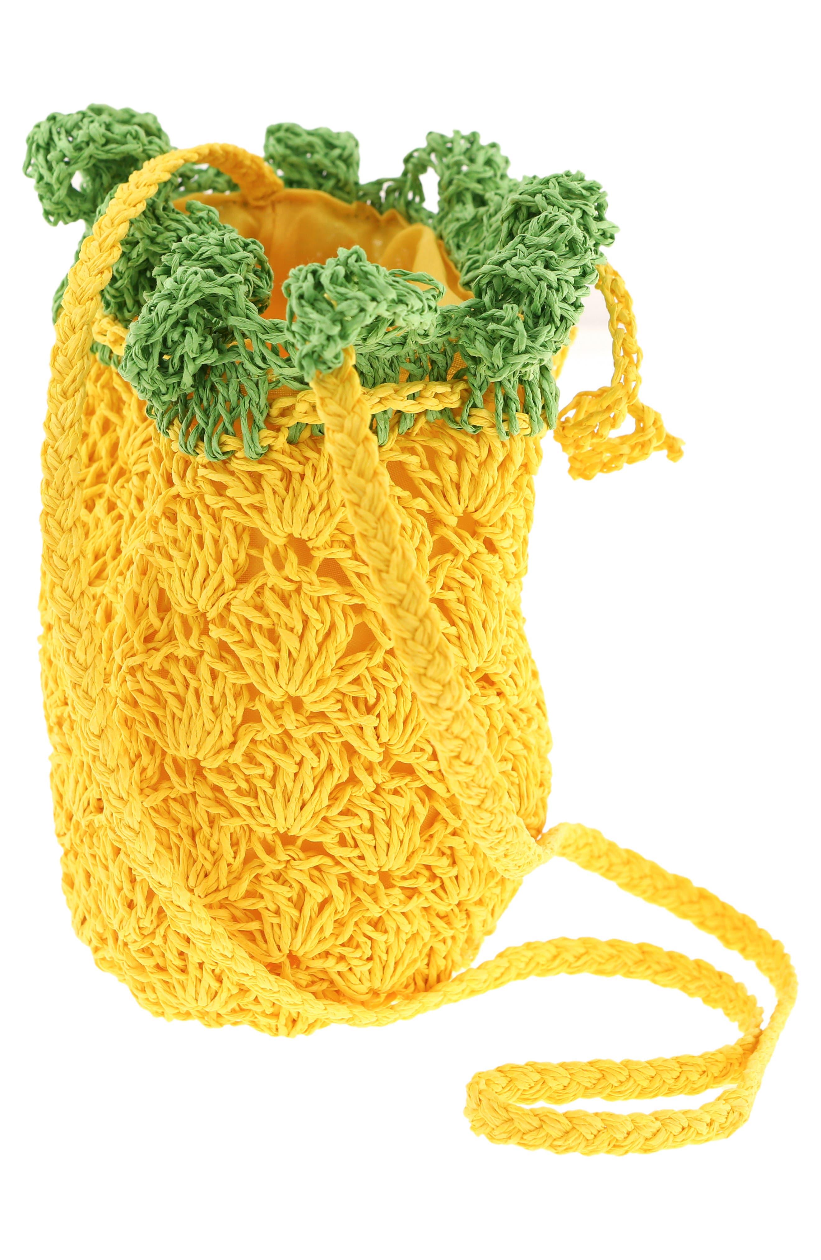 CAPELLI NEW YORK, Crochet Pineapple Crossbody Bag, Alternate thumbnail 3, color, YELLOW COMBO