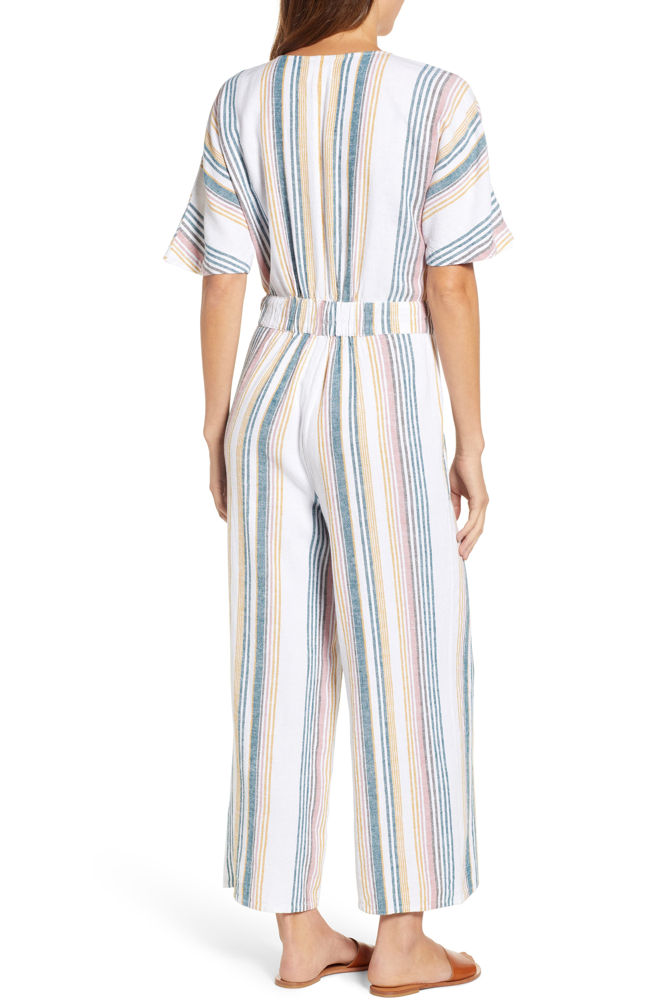 CASLON<SUP>®</SUP>, Stripe Jumpsuit, Alternate thumbnail 2, color, IVORY MULTI STRIPE