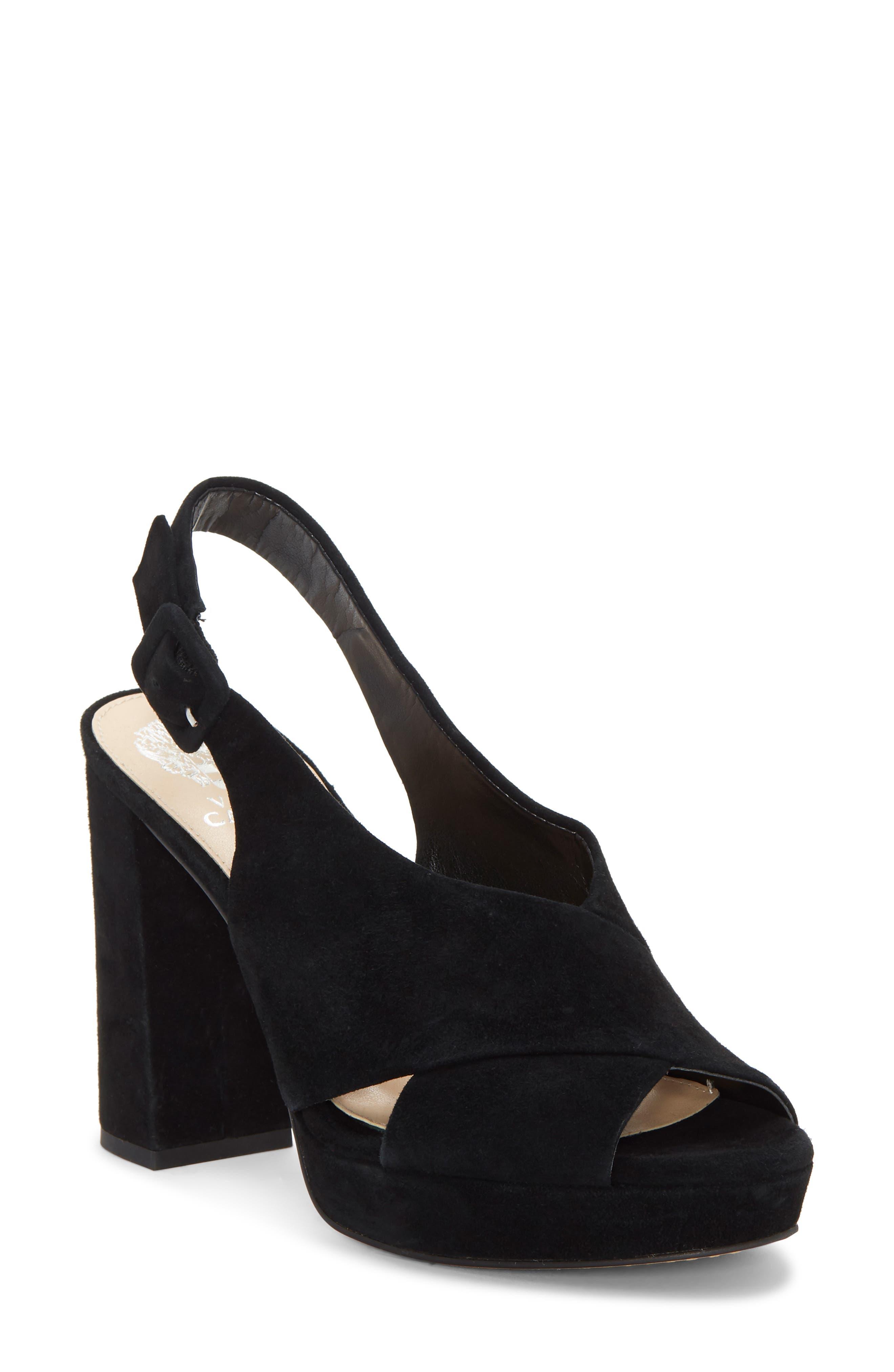VINCE CAMUTO Slingback Platform Sandal, Main, color, BLACK 01 SUEDE