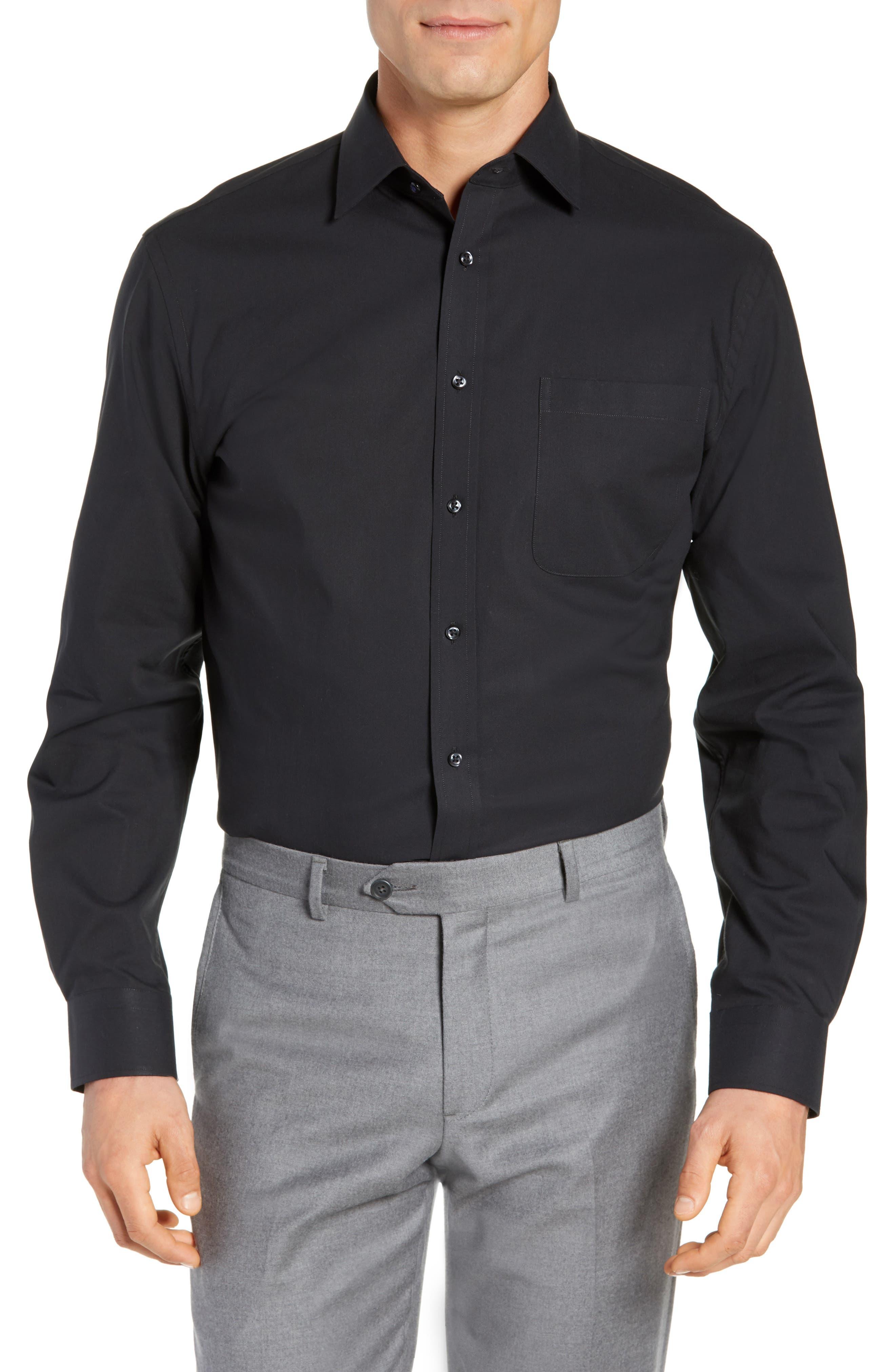 NORDSTROM MEN'S SHOP, Tech-Smart Traditional Fit Stretch Pinpoint Dress Shirt, Main thumbnail 1, color, BLACK ROCK