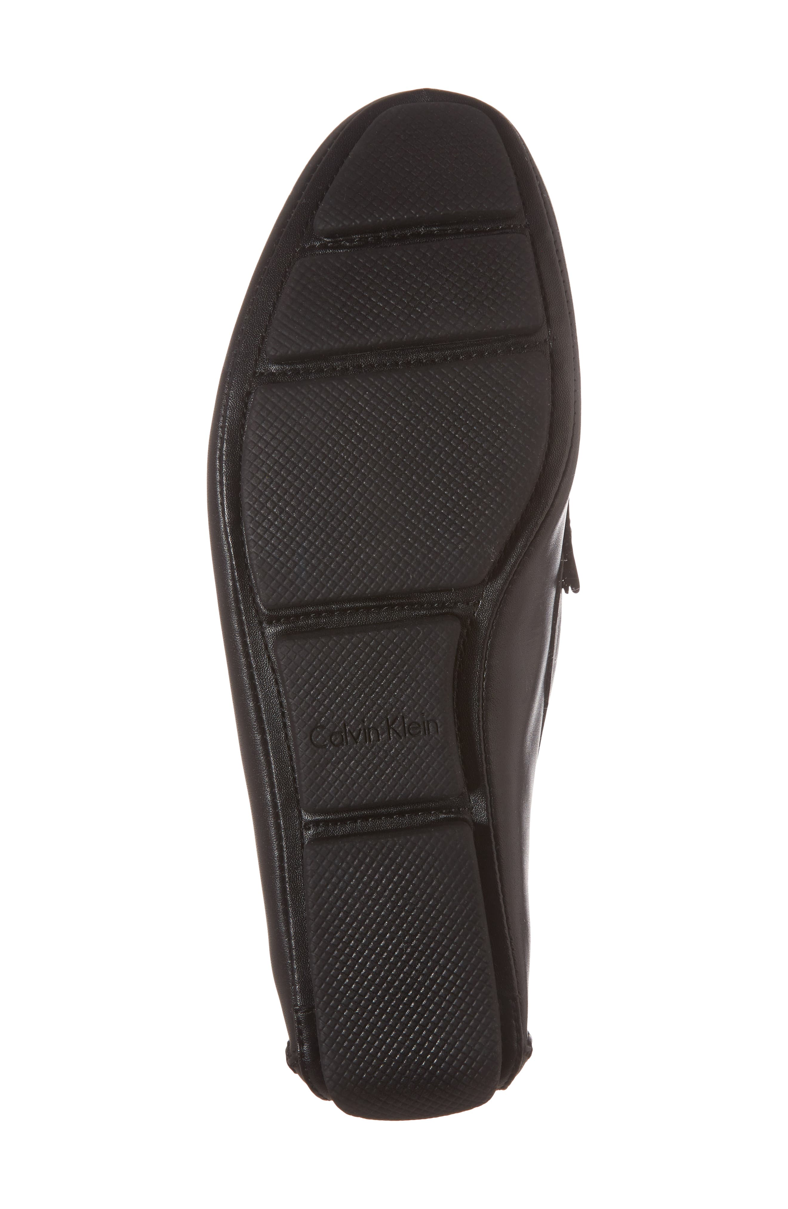 CALVIN KLEIN, Maddix Textured Driving Moccasin, Alternate thumbnail 6, color, BLACK LEATHER