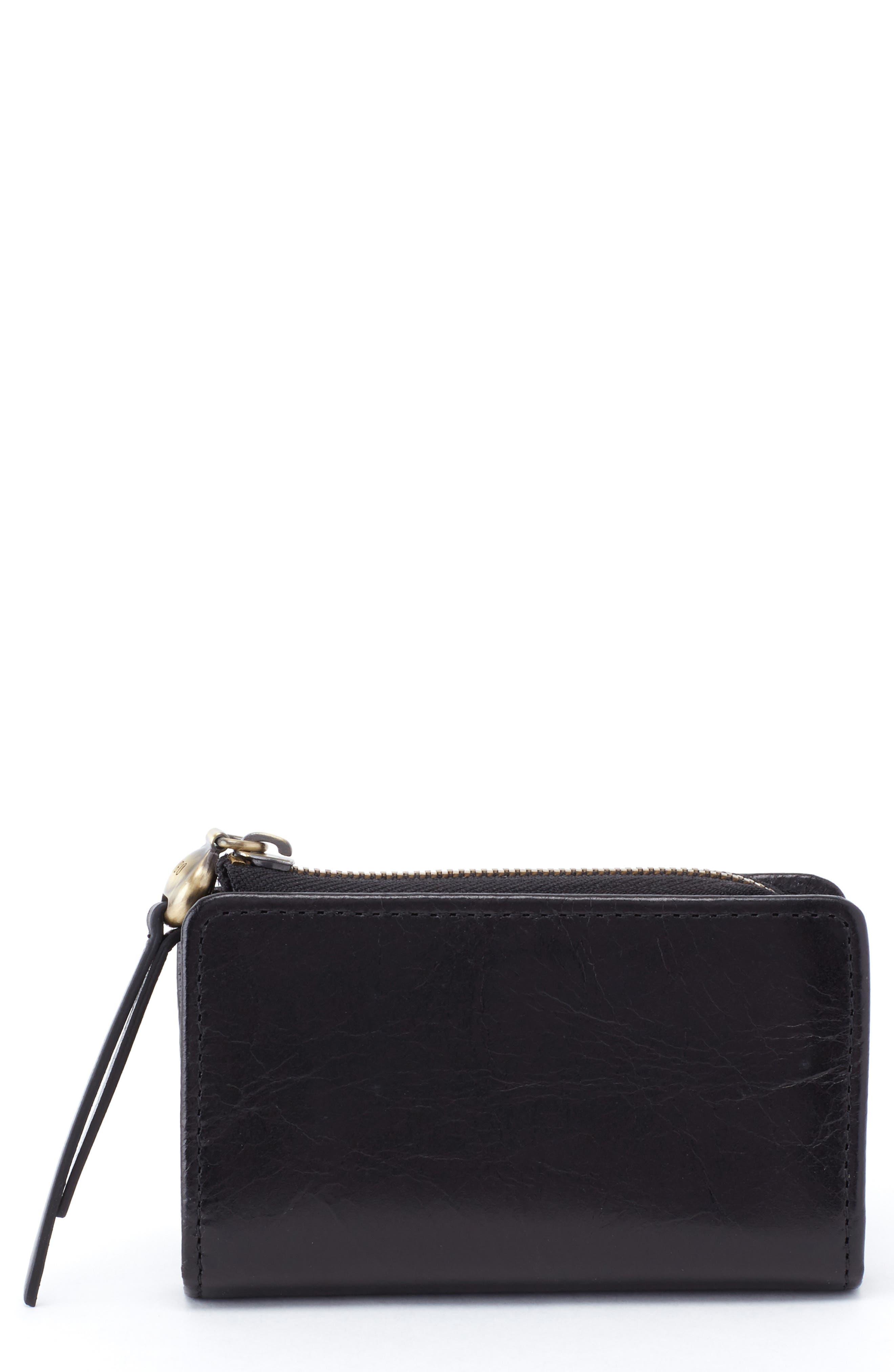 HOBO, Dart Calfskin Leather Wallet, Main thumbnail 1, color, BLACK