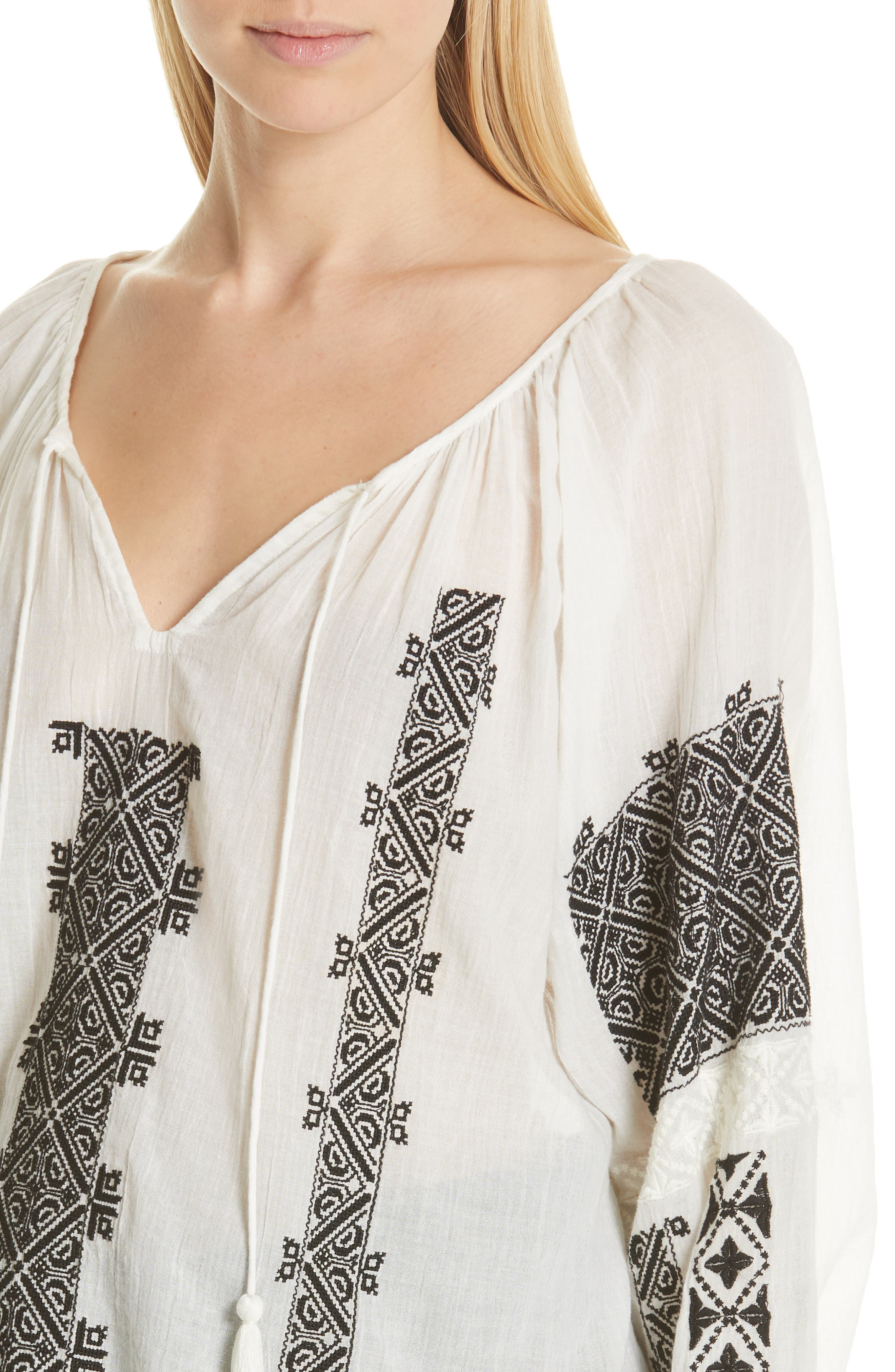 NILI LOTAN, Alassio Embroidered Blouse, Alternate thumbnail 4, color, IVORY WITH BLACK EMBROIDERY