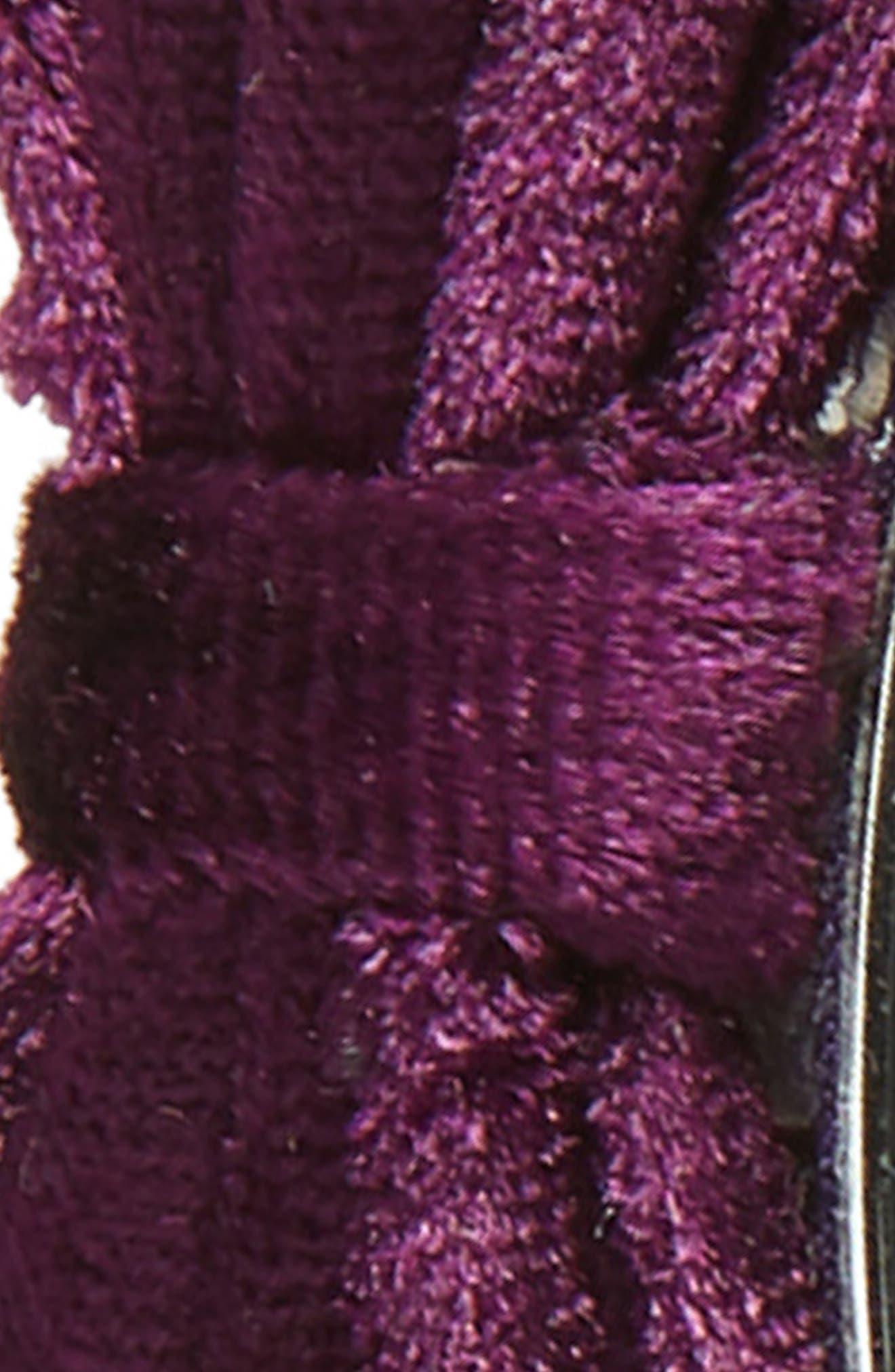 MANIÈRE, Double Bow Velvet Headband, Alternate thumbnail 2, color, PURPLE