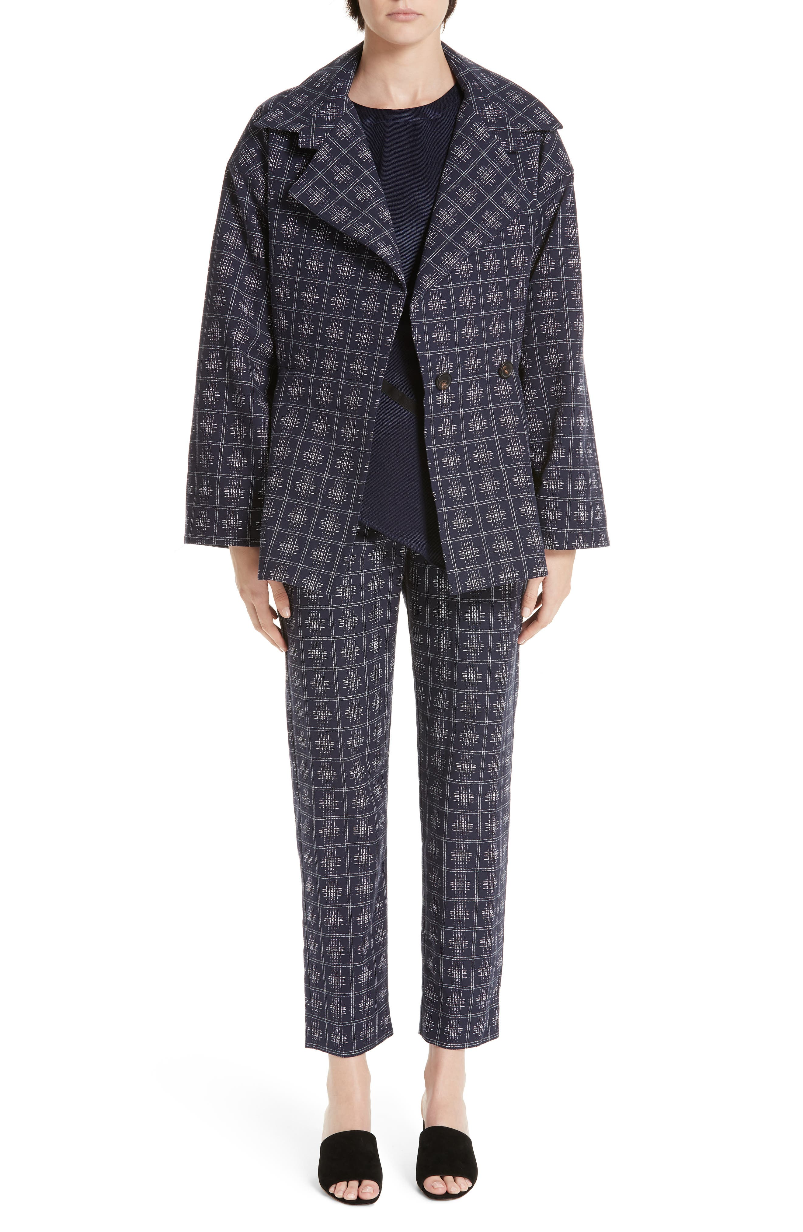 PALMER/HARDING, Fractured Trousers, Alternate thumbnail 7, color, NAVY CROSSHATCH CHECK