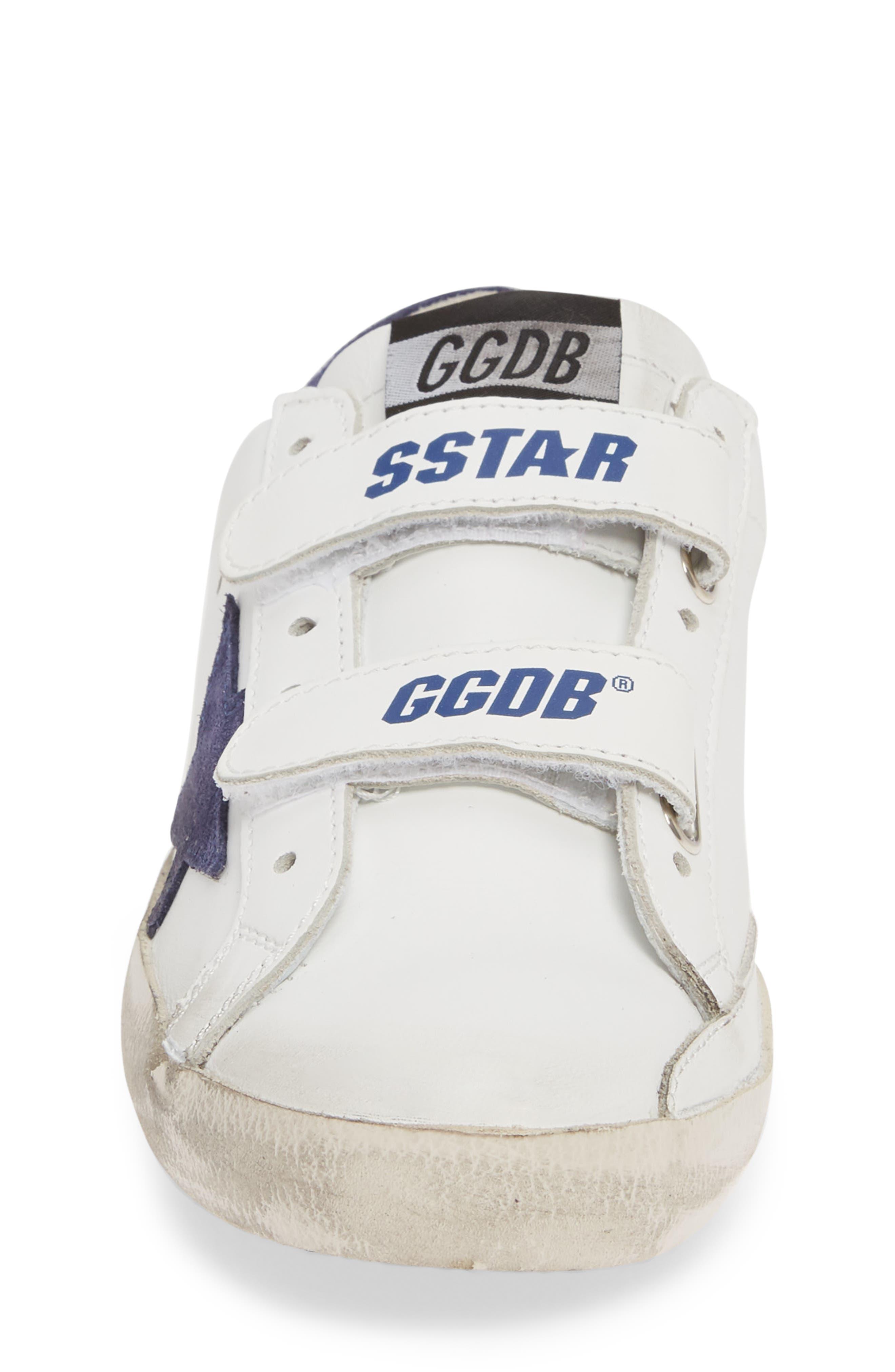 GOLDEN GOOSE, Glitter Old School Sneaker, Alternate thumbnail 4, color, WHITE LEATHER/ NAVY STAR