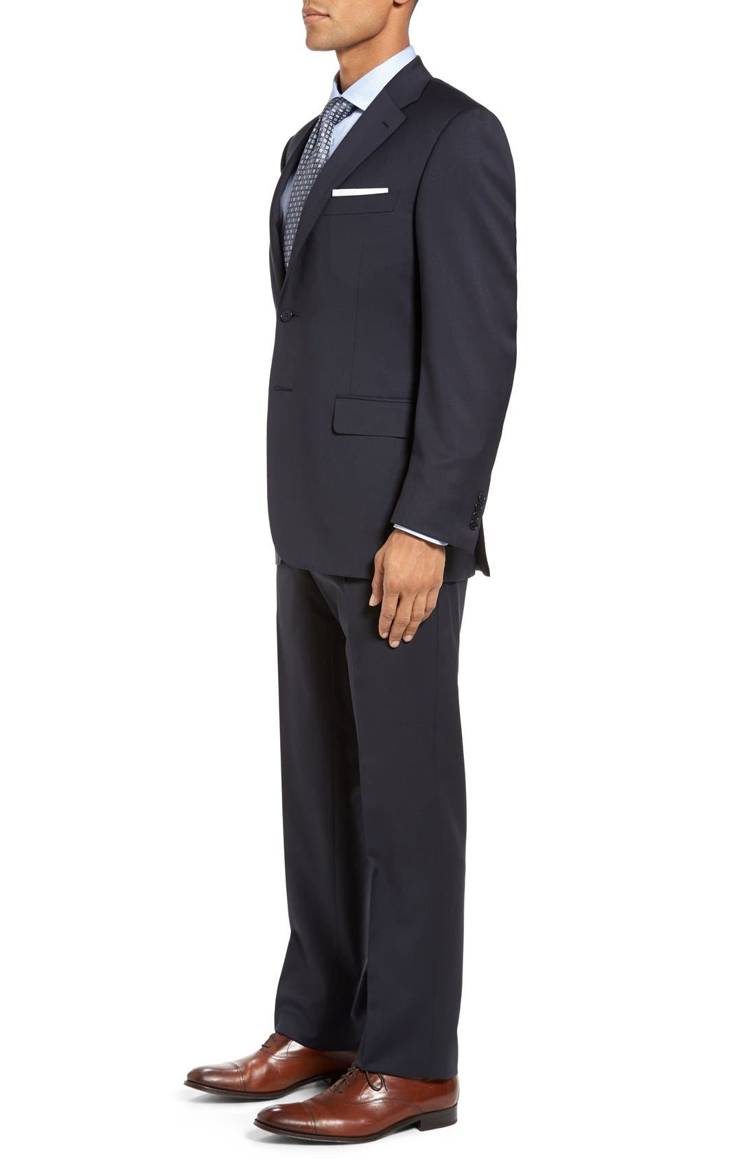 CANALI, Classic Fit Solid Wool Suit, Alternate thumbnail 3, color, NAVY