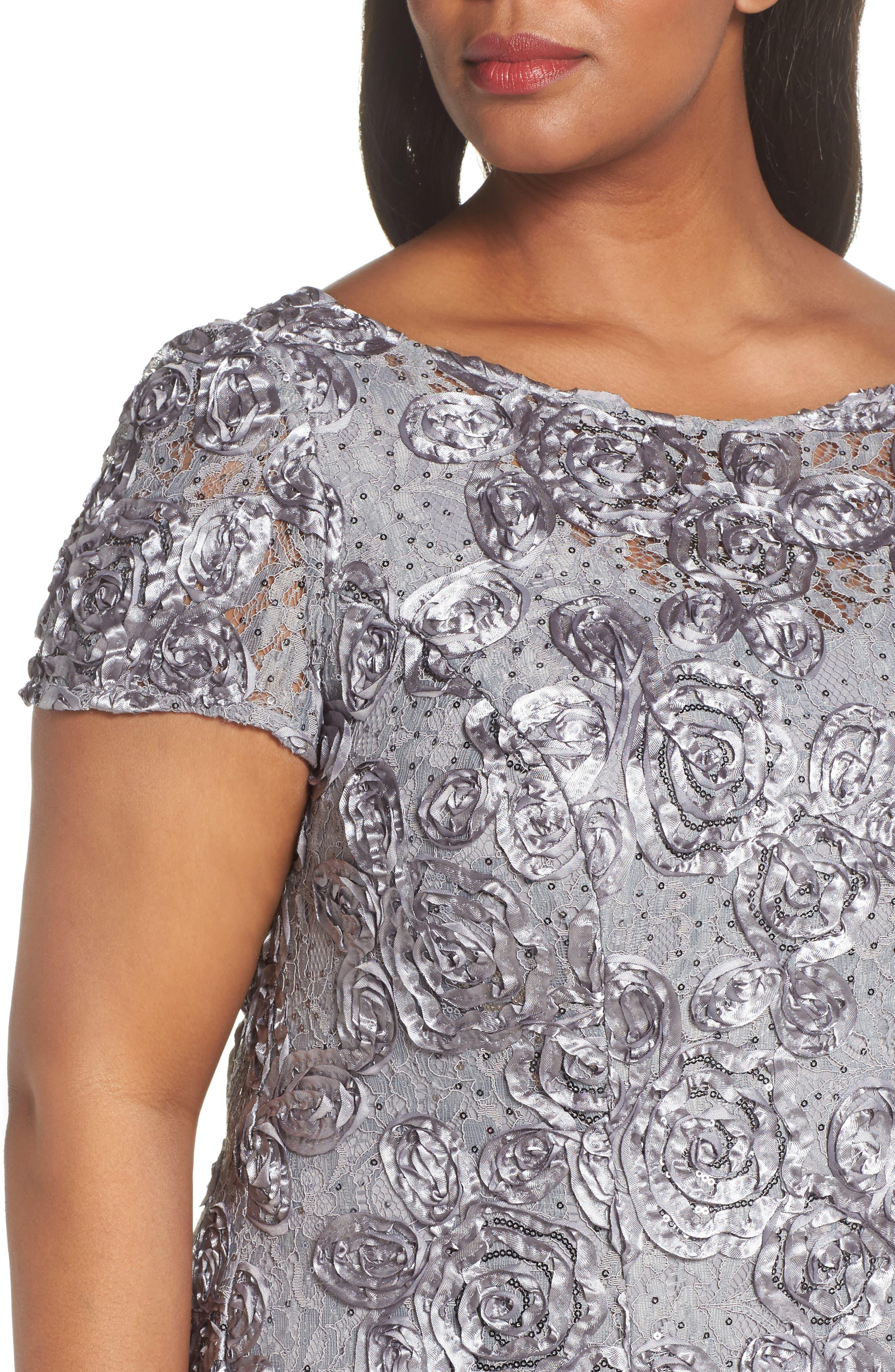 ALEX EVENINGS, Rosette Lace Short Sleeve A-Line Gown, Alternate thumbnail 5, color, DOVE