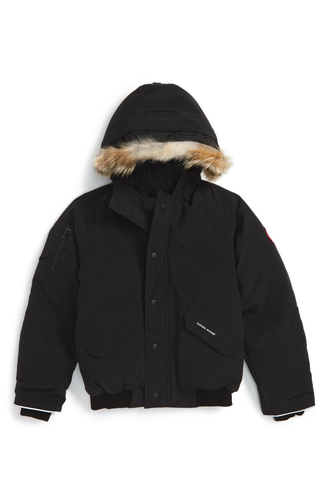 Kids Canada Goose Rundle Down Bomber Jacket With Genuine Coyote Fur Trim Size L (1416)  Black