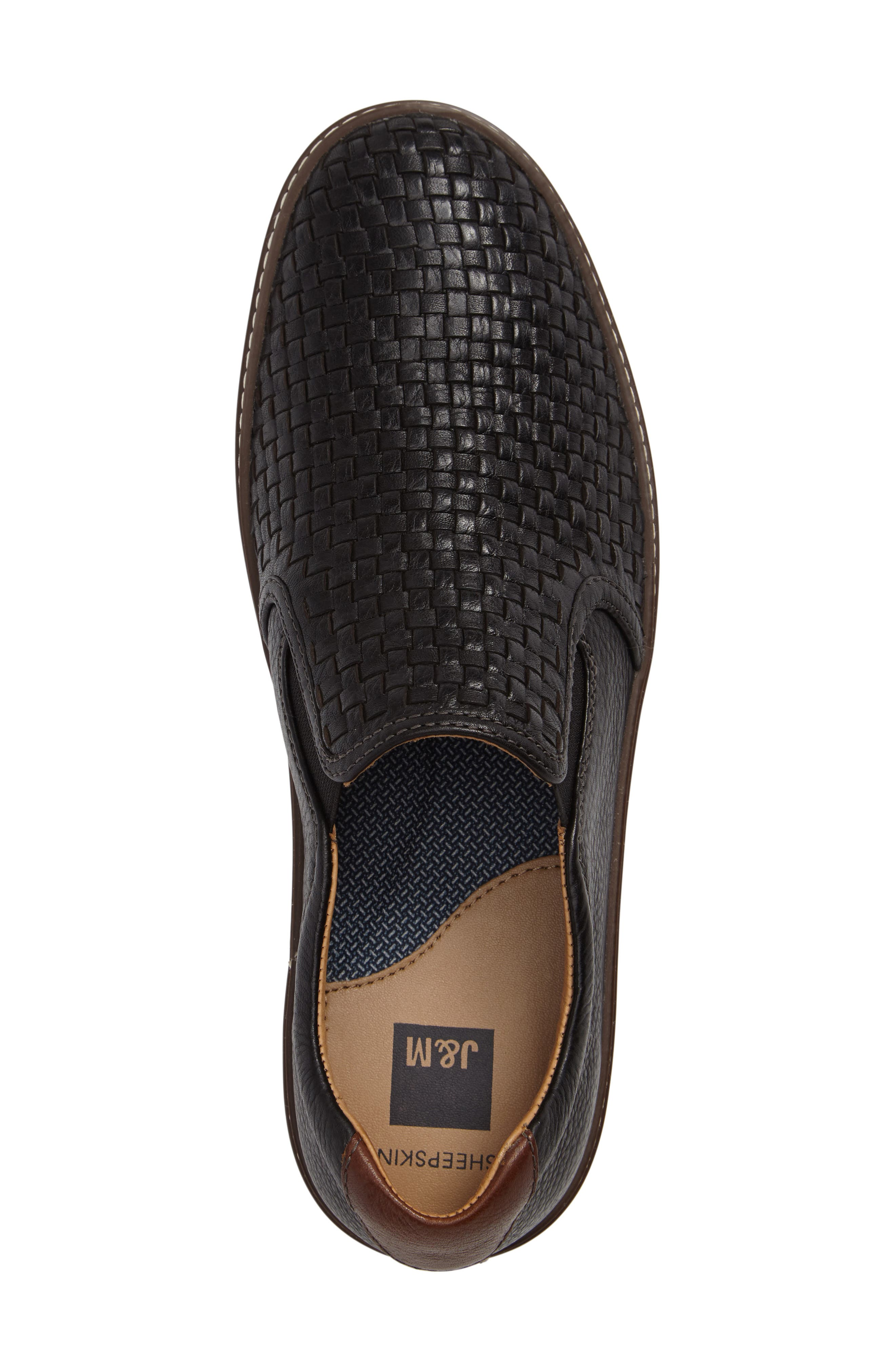 JOHNSTON & MURPHY, McGuffey Woven Slip-On Sneaker, Alternate thumbnail 3, color, BLACK LEATHER