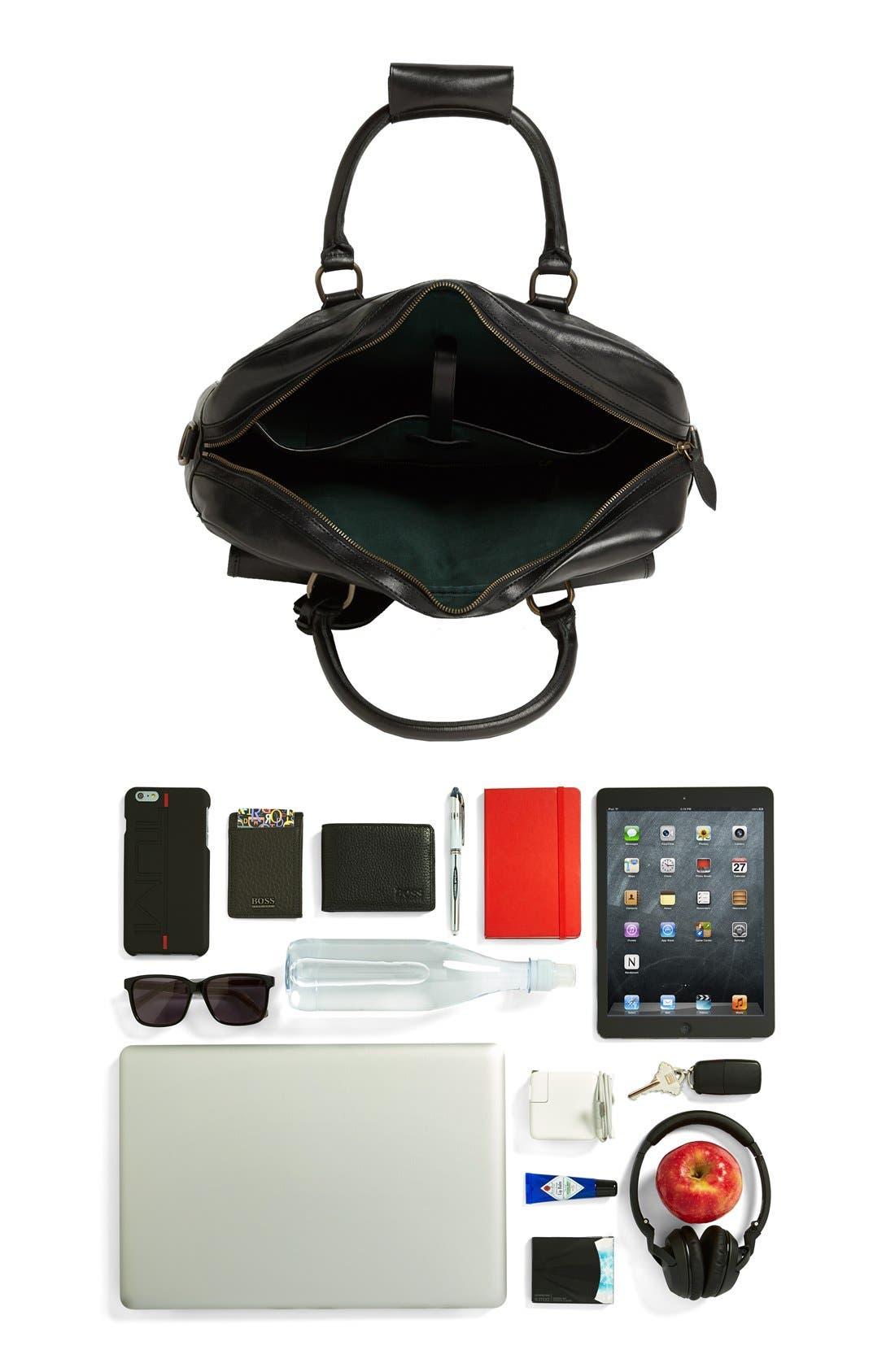 POLO RALPH LAUREN, Leather Commuter Bag, Alternate thumbnail 3, color, 001