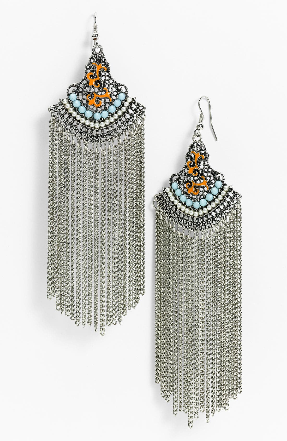 CARA, Couture 'Tribal' Chain Fringe Statement Earrings, Main thumbnail 1, color, 040